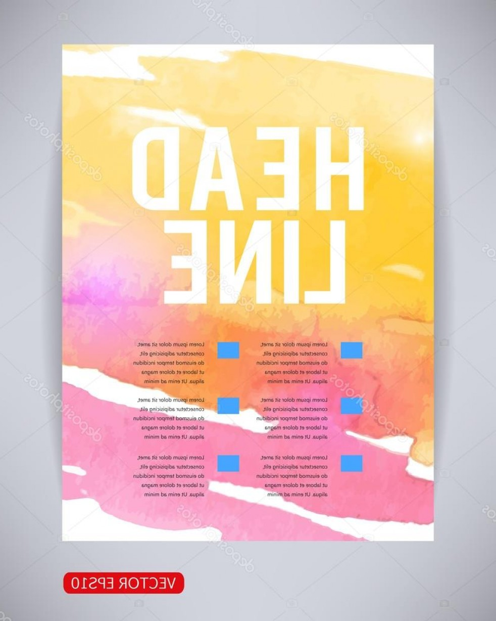 Watercolor Vector Free Designs: Stock Illustration Vector Brochure And Flyer Poster