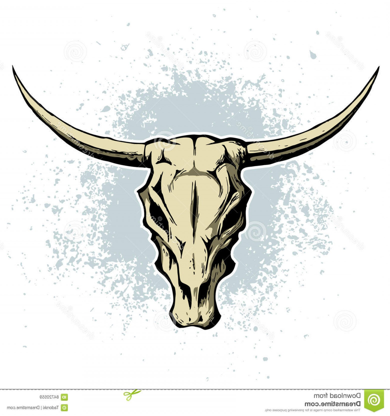 Longhorn Skull Vector: Stock Illustration Vector Bull Cow Skull Horns Texas Themed Logo Image