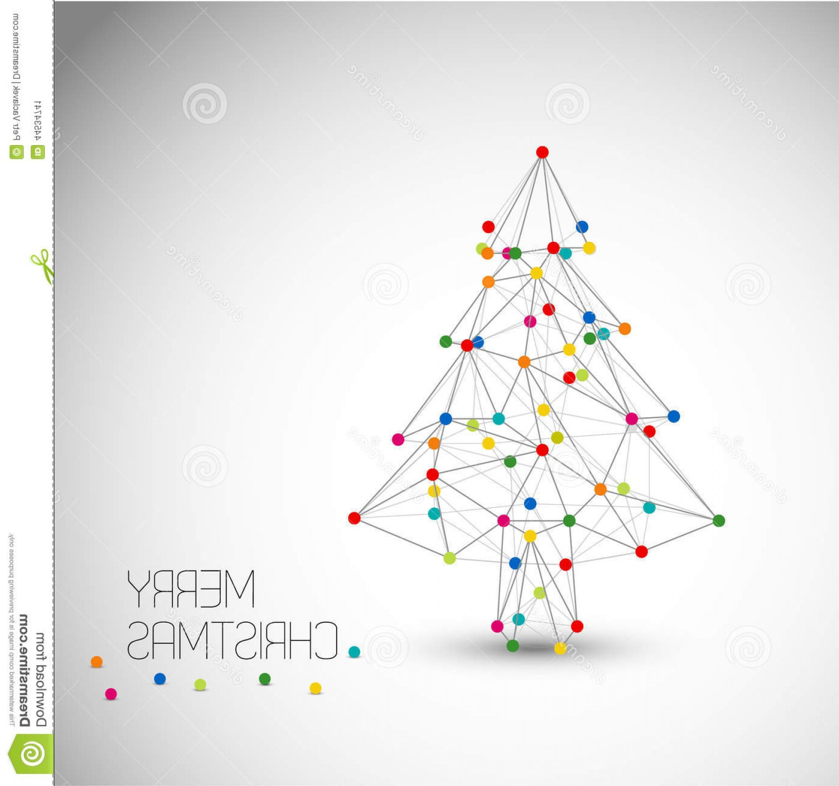 Less Christmas Tree Abstract Vector Background: Stock Illustration Vector Card Abstract Christmas Tree Made Lines Dots Colorful Low Poly Art Image