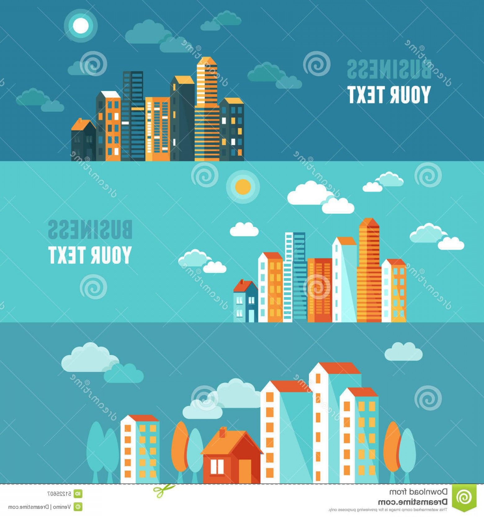 City Building Vector Free Download: Stock Illustration Vector City Illustration Flat Simple Style Houses Buildings Horizontal Banners Website Headers Image