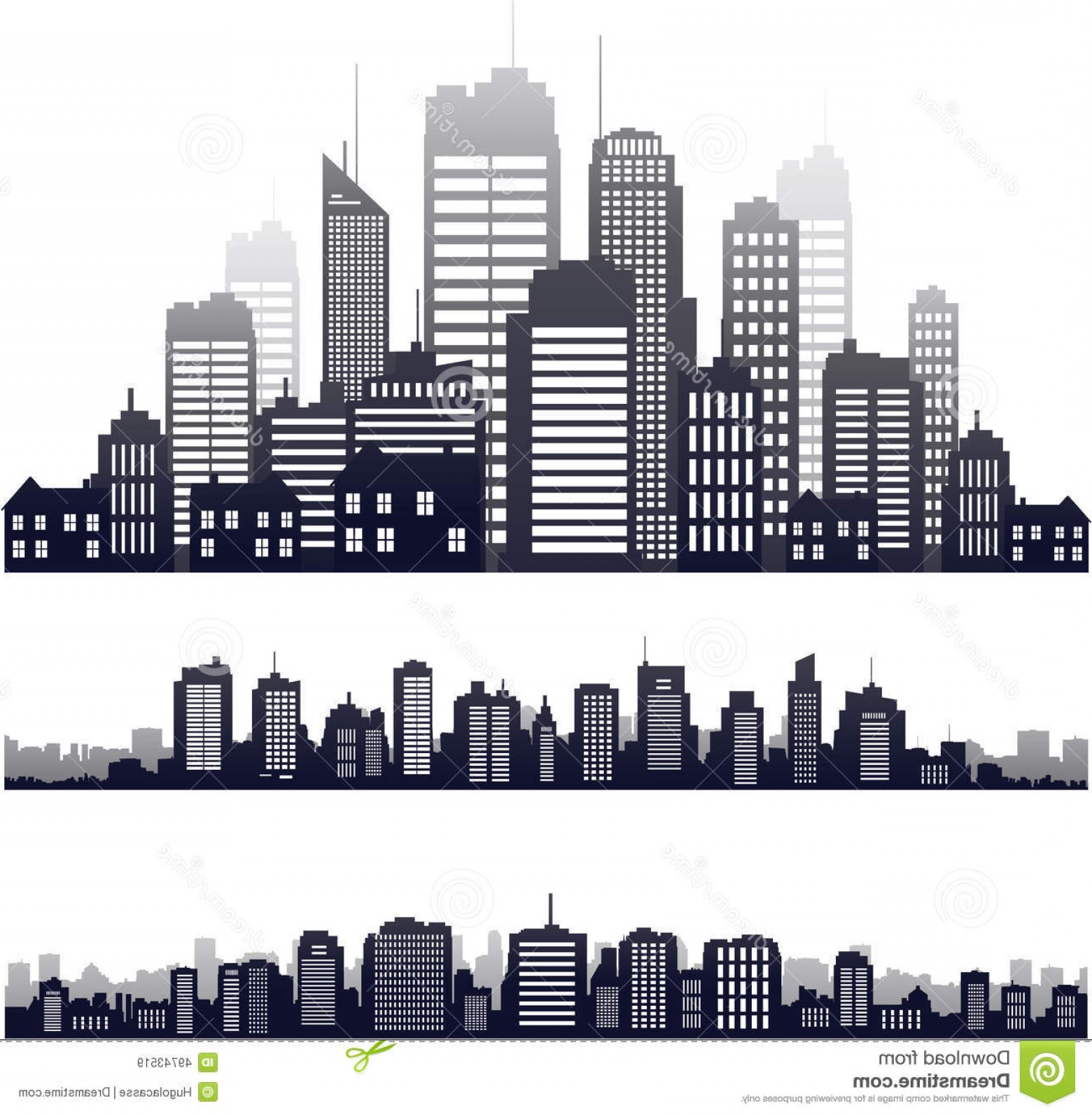 City Building Vector Free Download: Stock Illustration Vector City Silhouette Isolated White Building Skyline Image