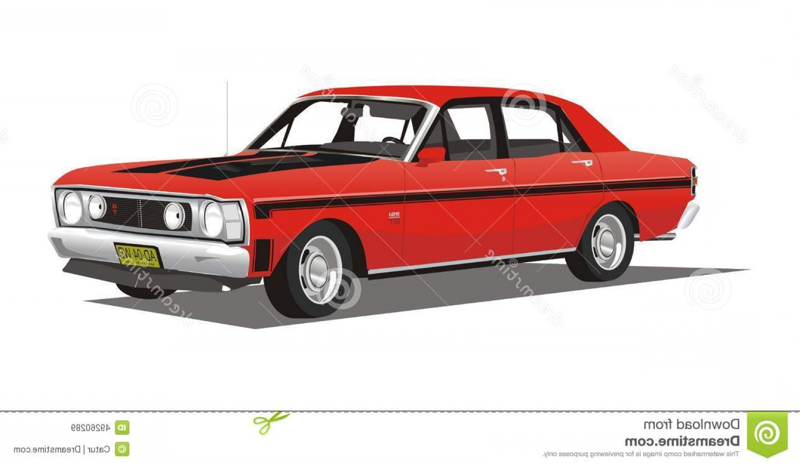 Ford Falcon Logo Vector: Stock Illustration Vector Classic Black Car Cool Classical Red Isolated White Background Color Image