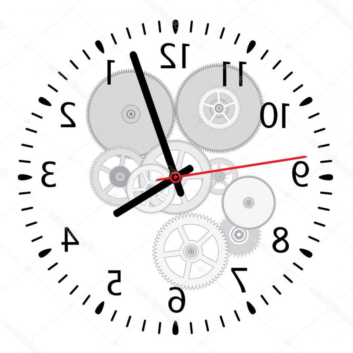 Watch Gears Vector: Stock Illustration Vector Clock And Gears
