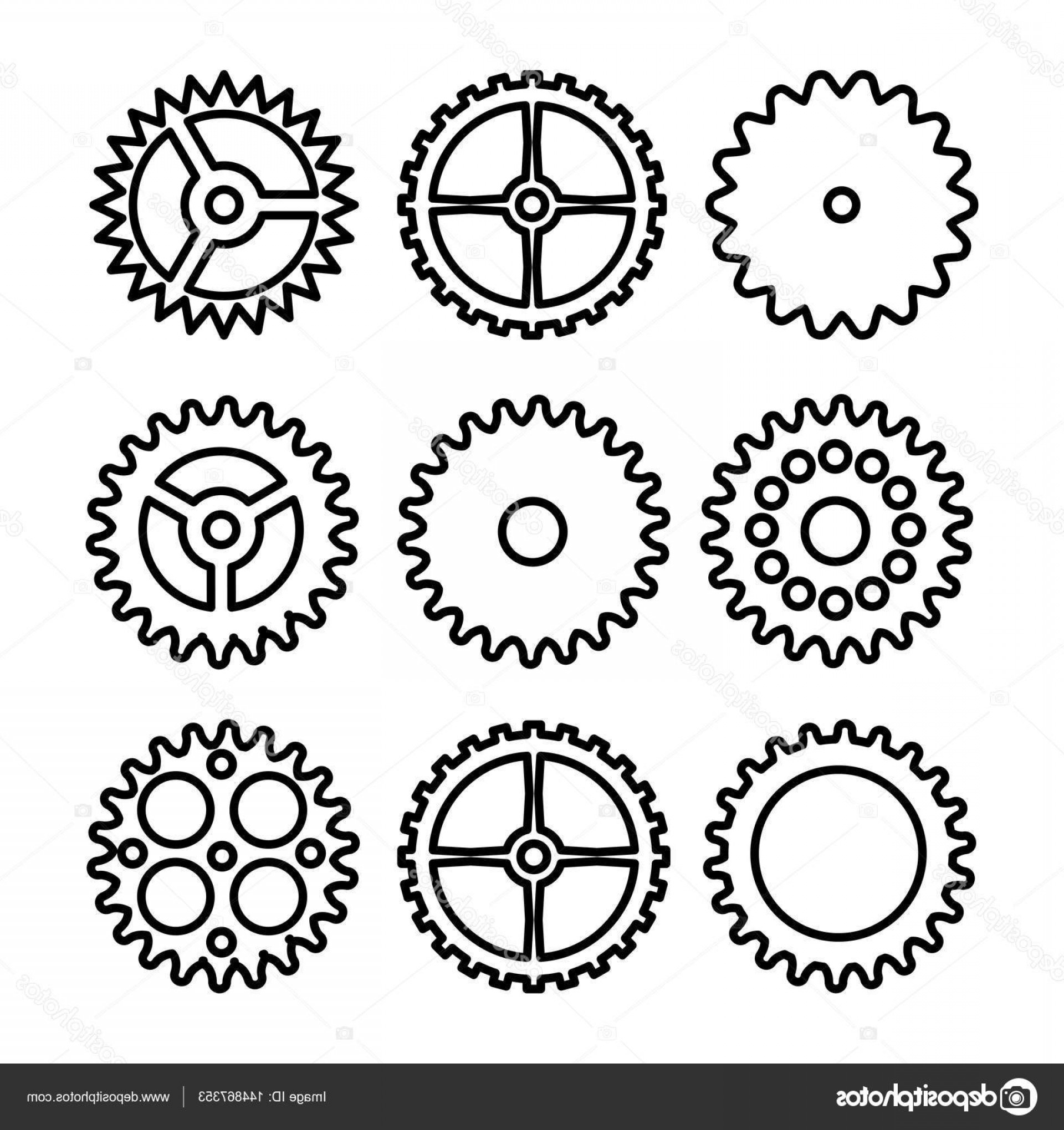 Vector Mechanical Clock Wheels: Stock Illustration Vector Clock Gears Outline Icons