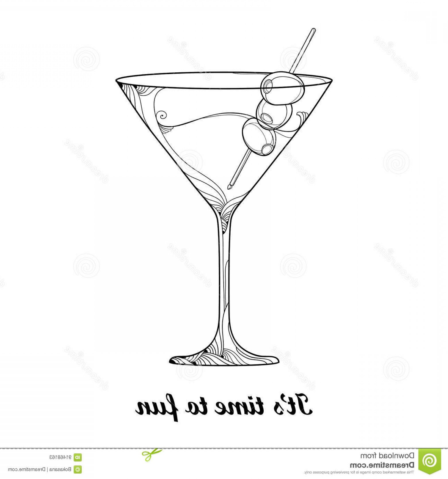 Cocktail Glasses Vector Art Decor: Stock Illustration Vector Cocktail Transparent Martini Glass Olive Fruit Black Isolated White Background Outline Glass Winery Image