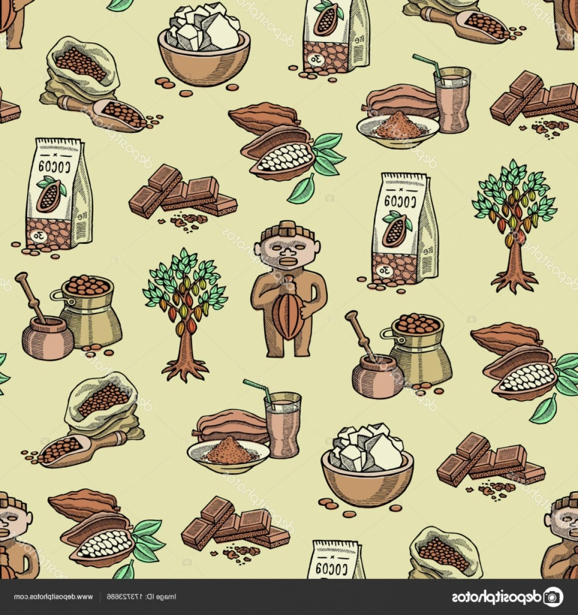 Chocolate Vector Plant: Stock Illustration Vector Cocoa Products Plantation Handdrawn