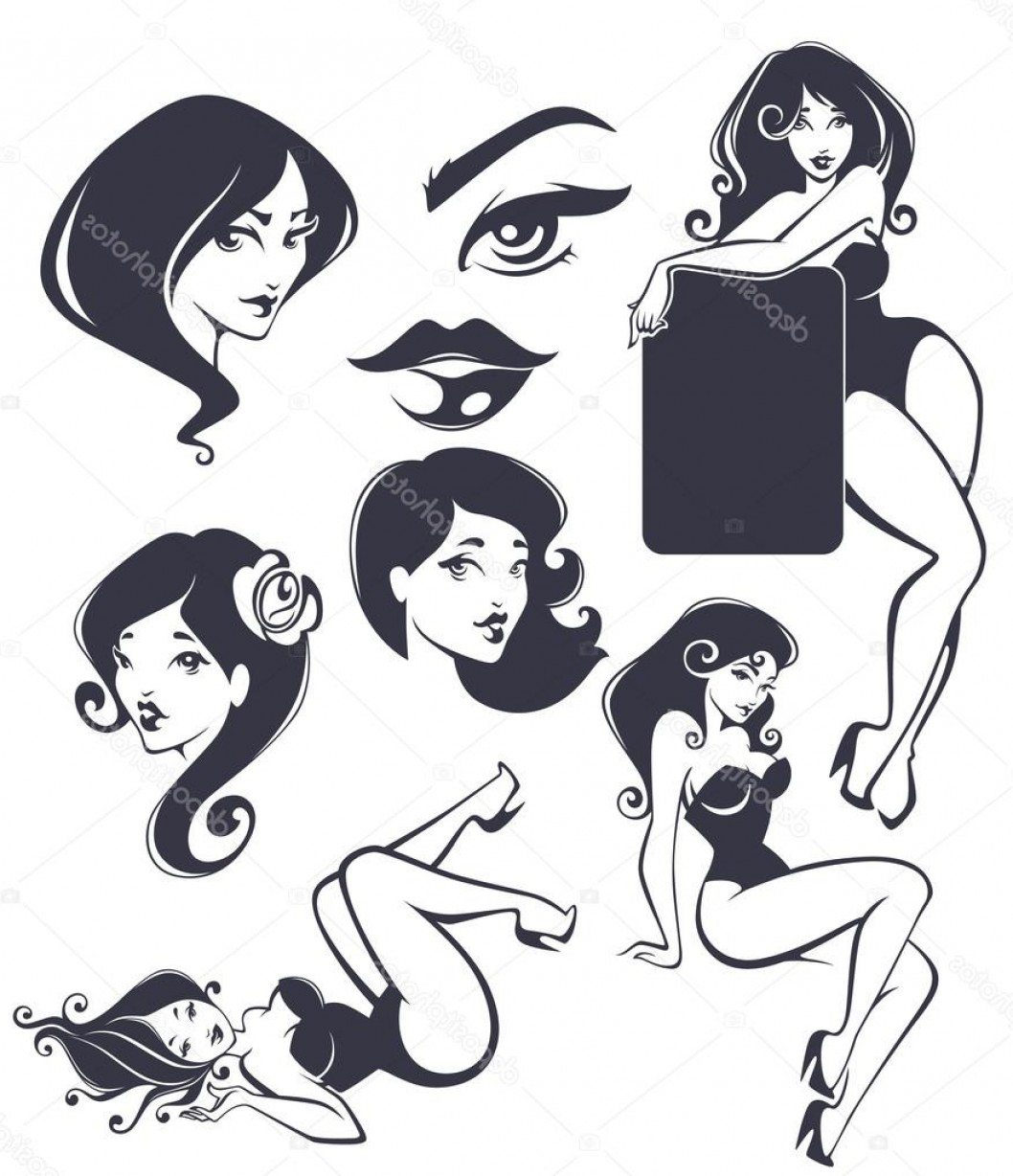 Pin Up Girls Vector Stock: Stock Illustration Vector Collection Of Pinup Girls