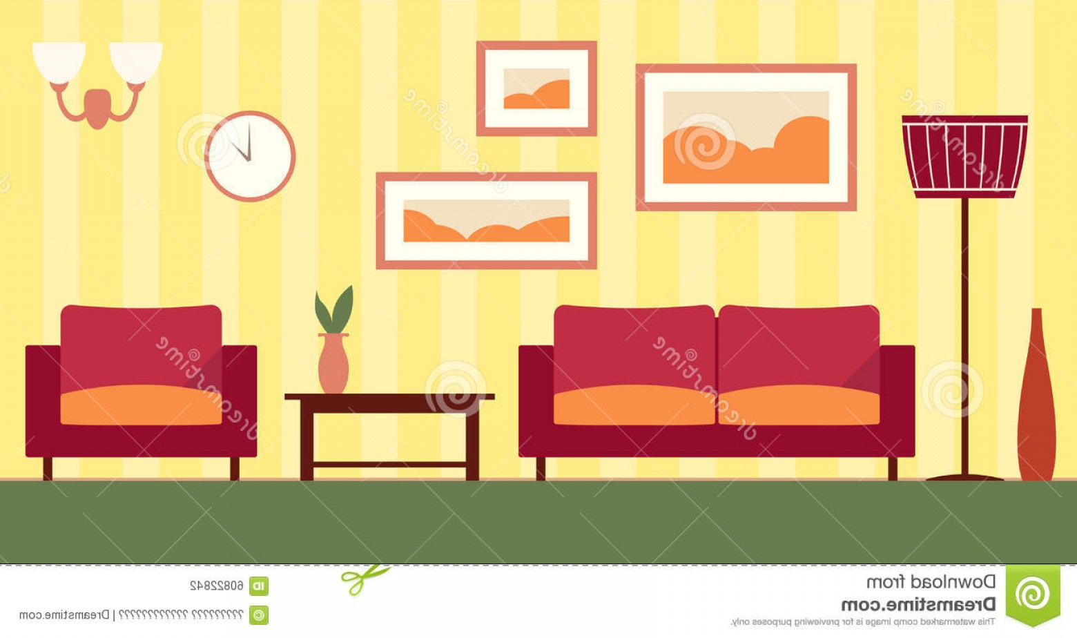 Vector Background For Living Room: Stock Illustration Vector Color Interior Cartoon Living Room Flat Illustration Image