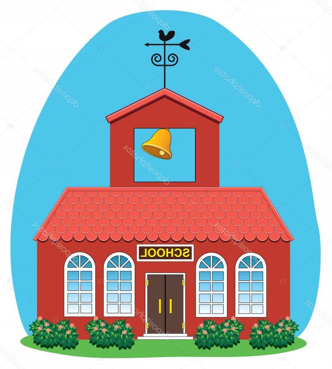 Vector Clip Art Red Schoolhouse: Stock Illustration Vector Country School House