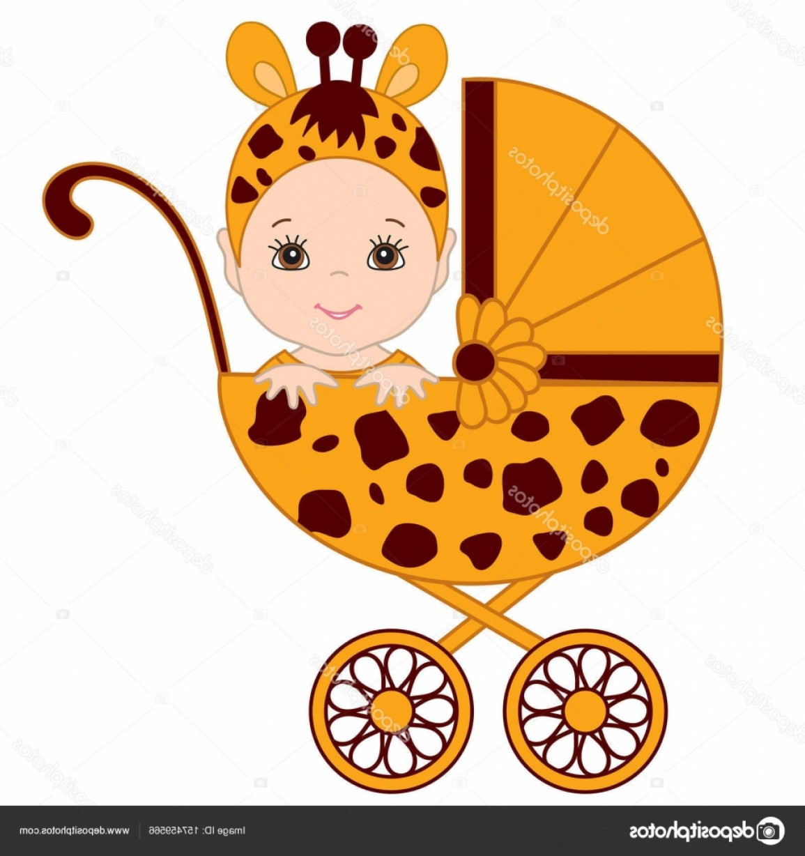 Sitting Monkey Vector Baby Shower: Stock Illustration Vector Cute Baby In Giraffe