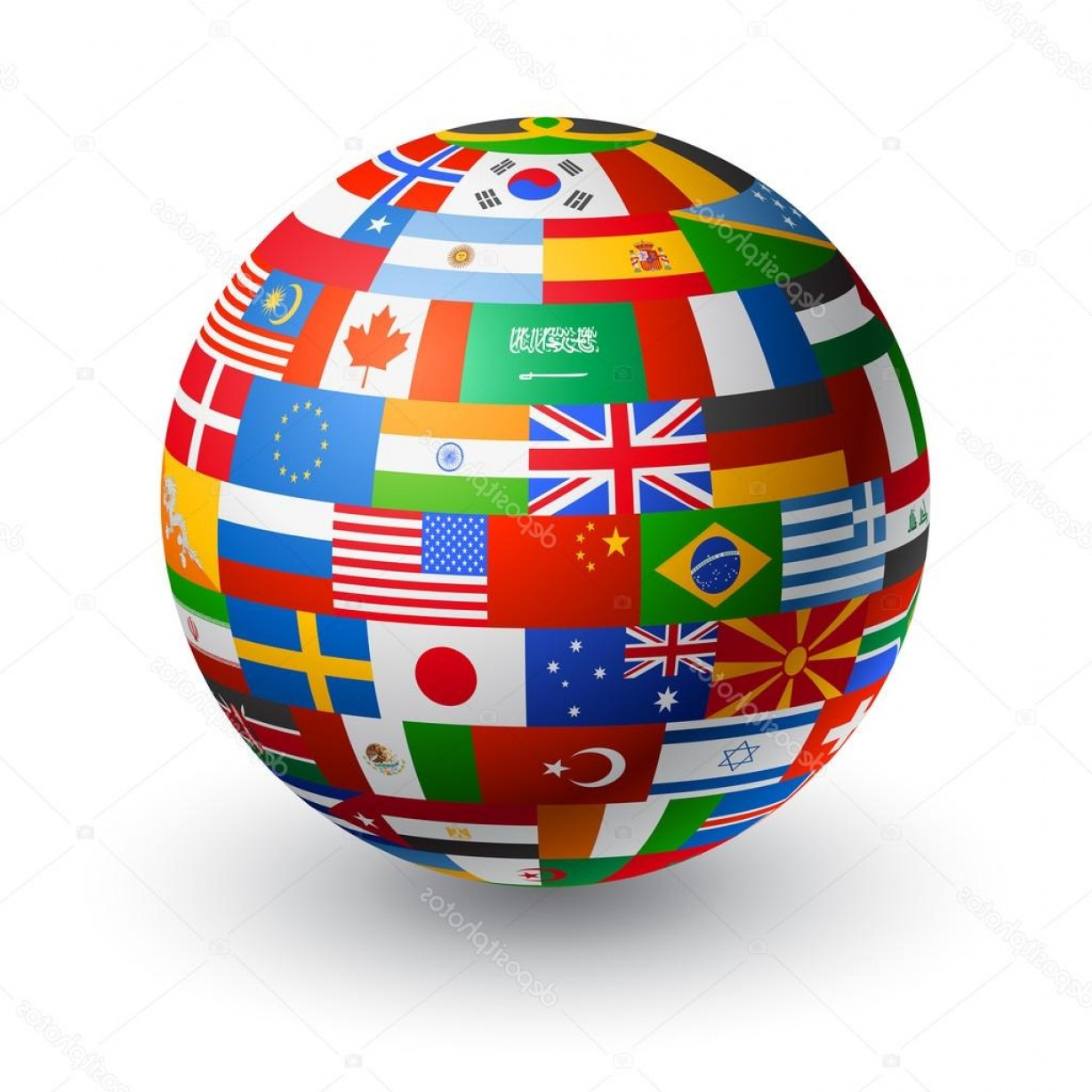 Vector Globe Countries: Stock Illustration Vector D World Flag Globe