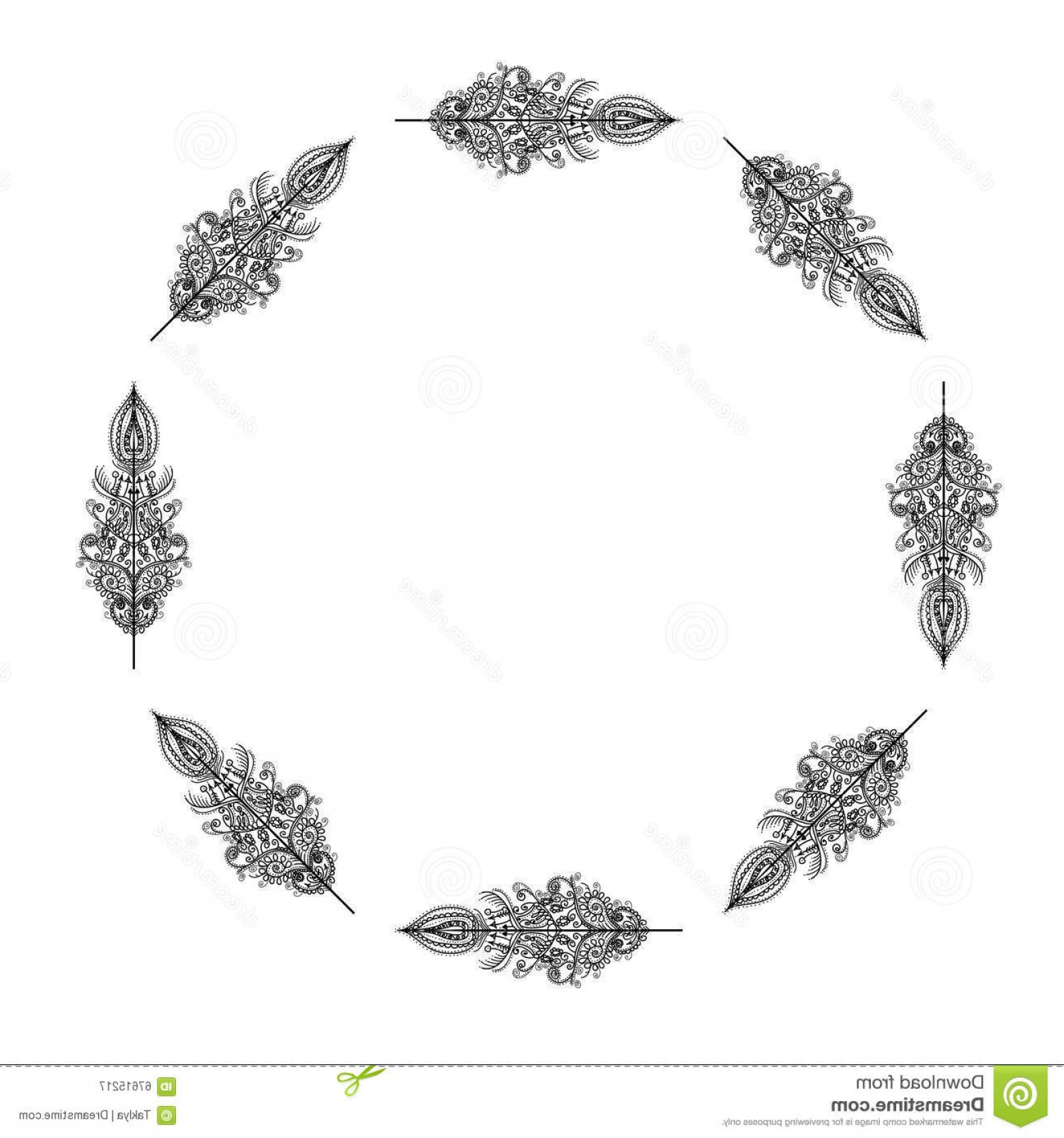 Tattoo Templates Vector Frames: Stock Illustration Vector Decorative Frame Feathers Tribal Design Tattoo Template Image