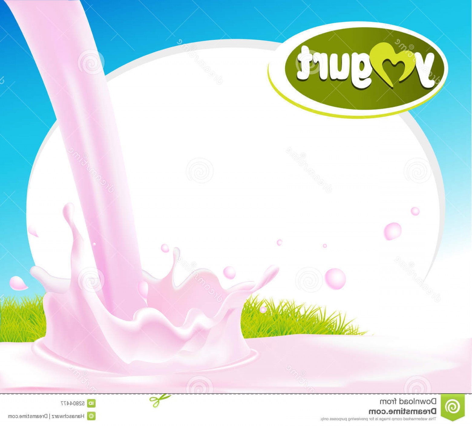 Yogurt Vector: Stock Illustration Vector Design Frame Pink Yogurt Splash Green Grass Image