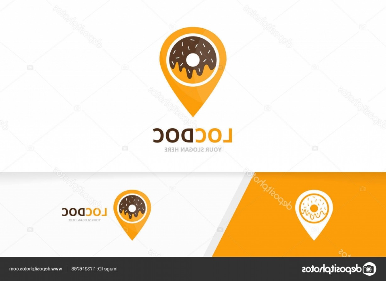 Unique Pointer Vector: Stock Illustration Vector Donut And Map Pointer