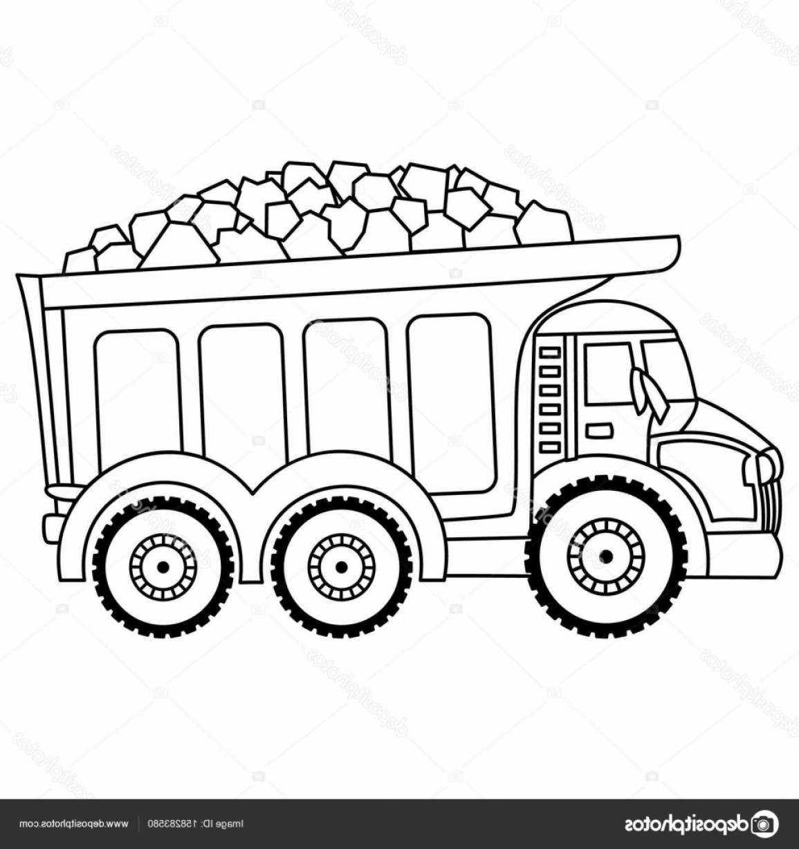 Dump Truck Vector Black And White: Stock Illustration Vector Dump Truck Black And