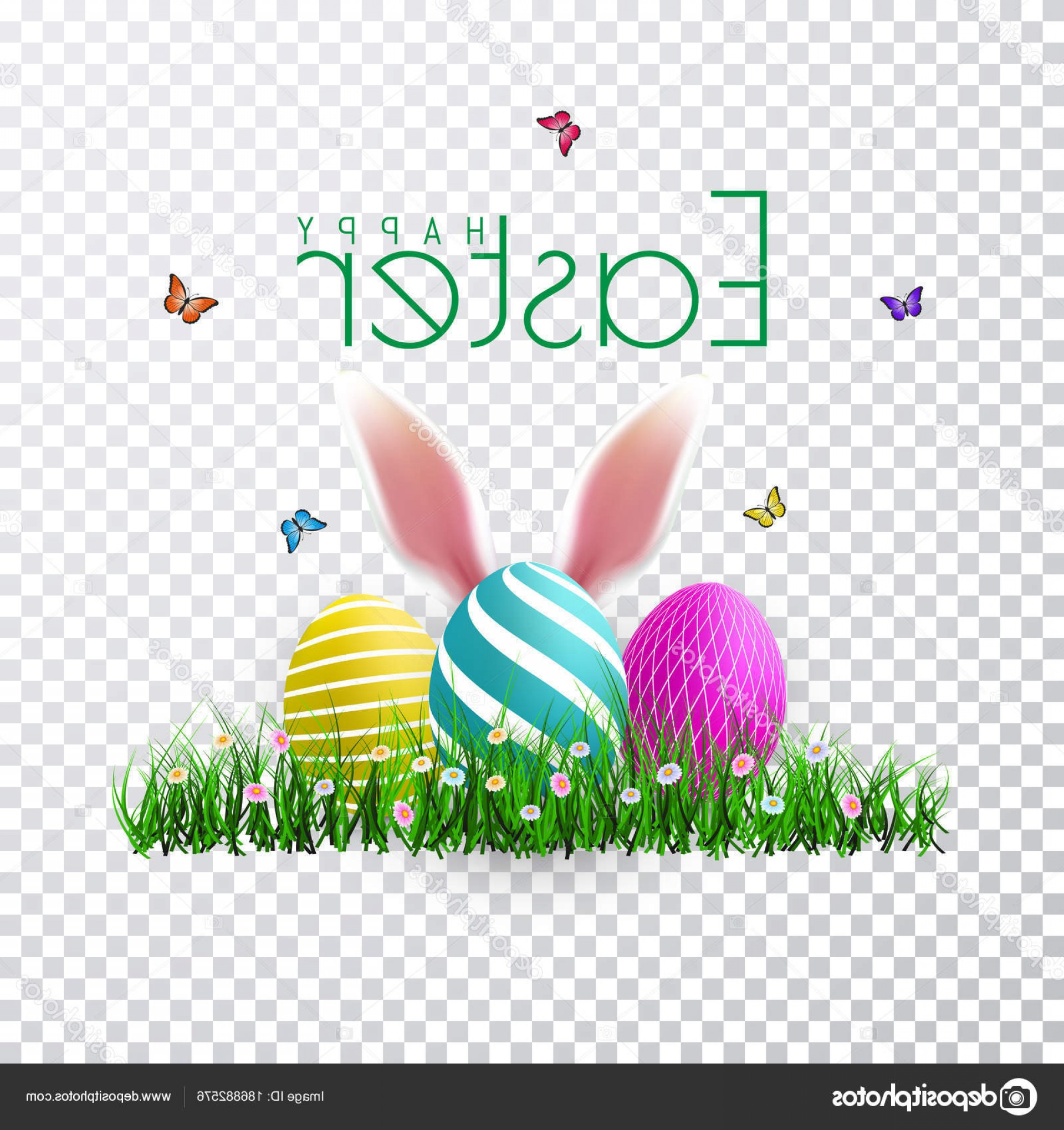 Easter Vector Art No Background: Stock Illustration Vector Easter Eggs With Grass