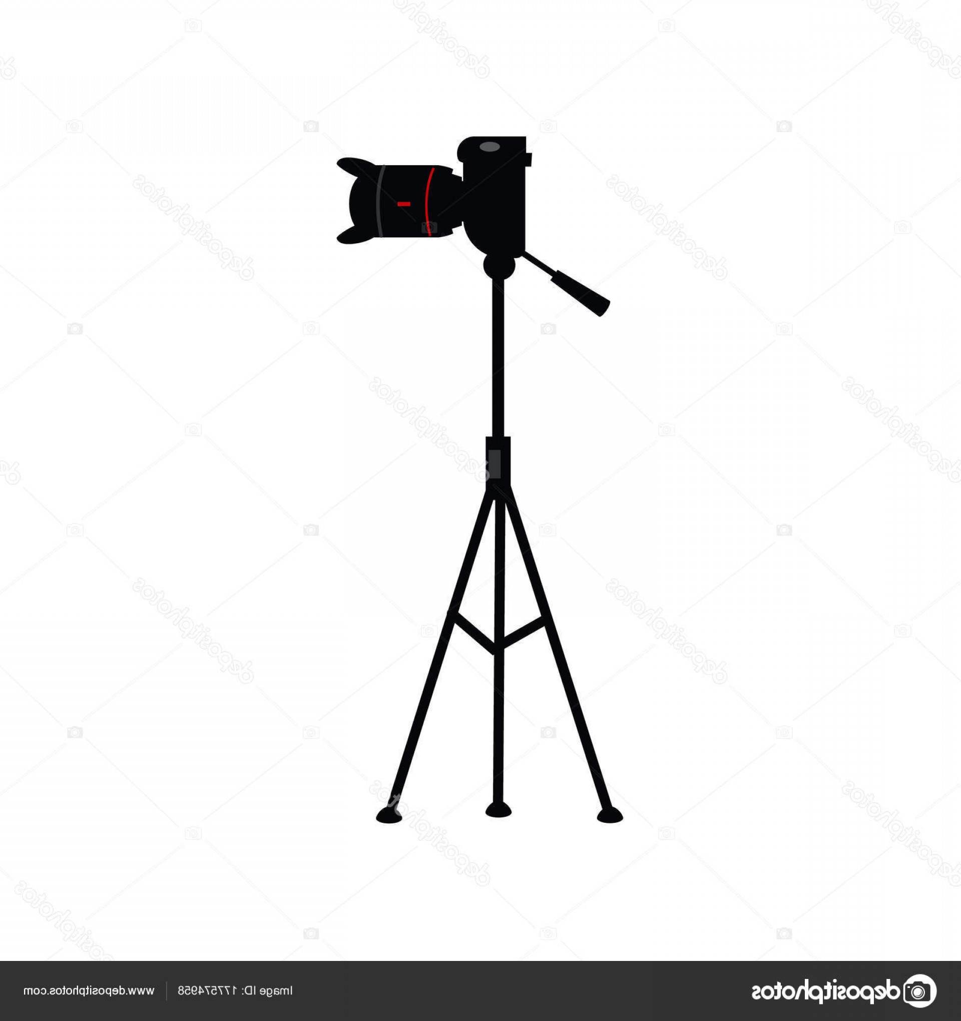 Vector Camera Stand: Stock Illustration Vector Flat Lens Photo Camera