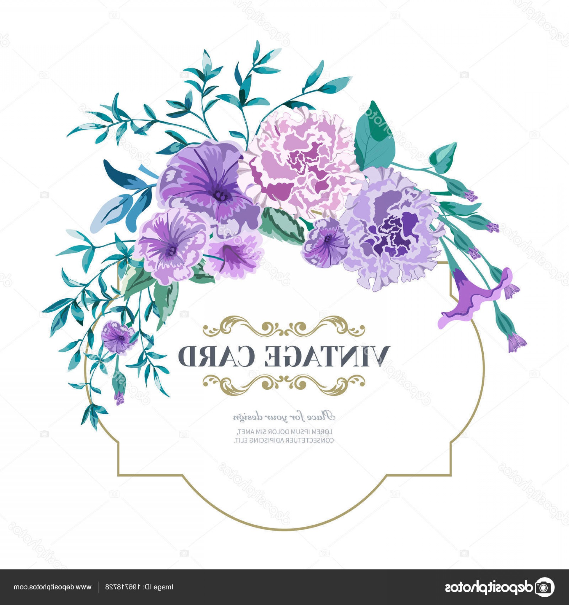 Lilac Vector Drawing: Stock Illustration Vector Floral Background Wedding Card