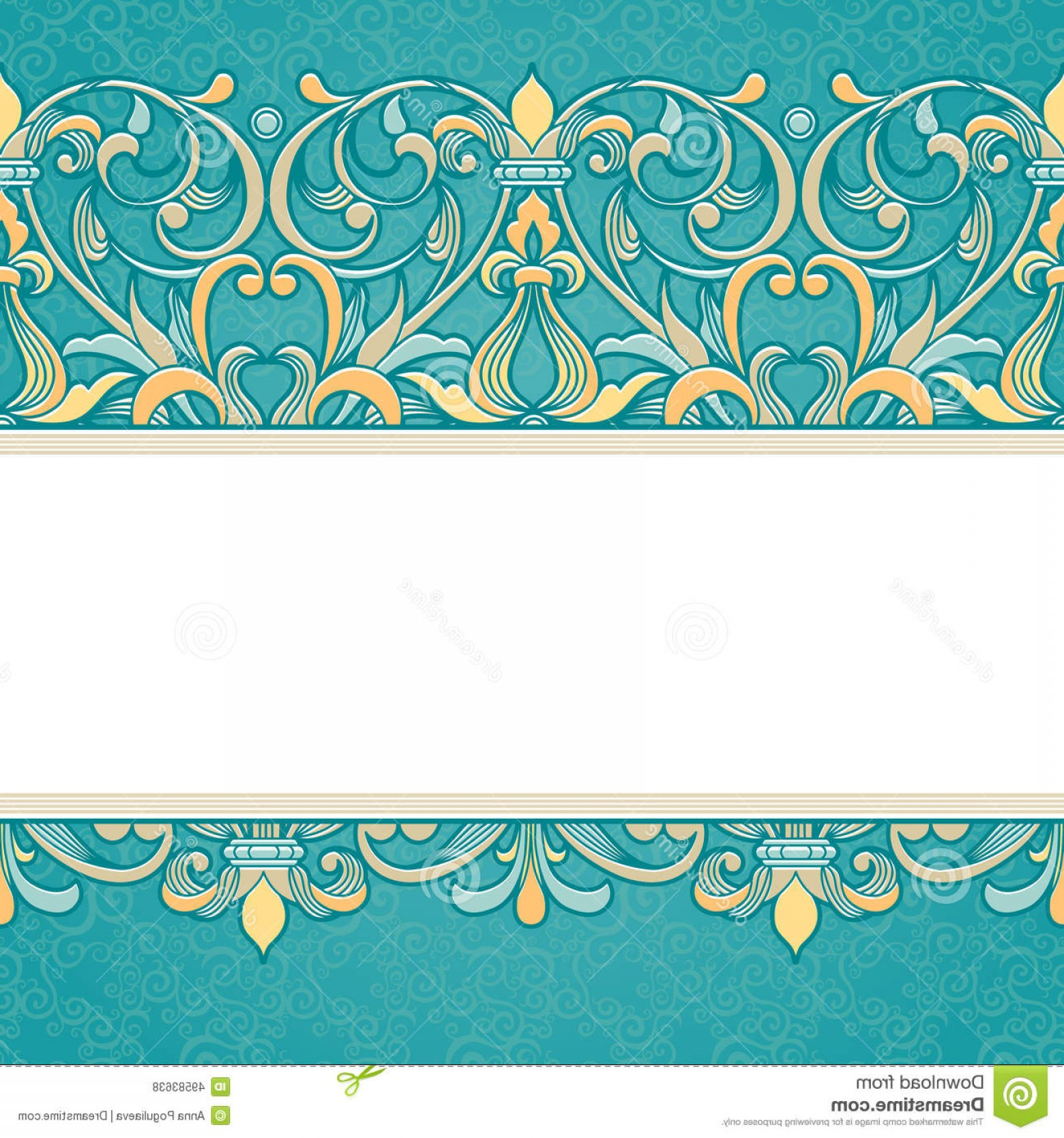 Aqua Victorian Vectors: Stock Illustration Vector Floral Border Victorian Style Ornate Element Design Place Text Ornamental Vintage Pattern Wedding Image