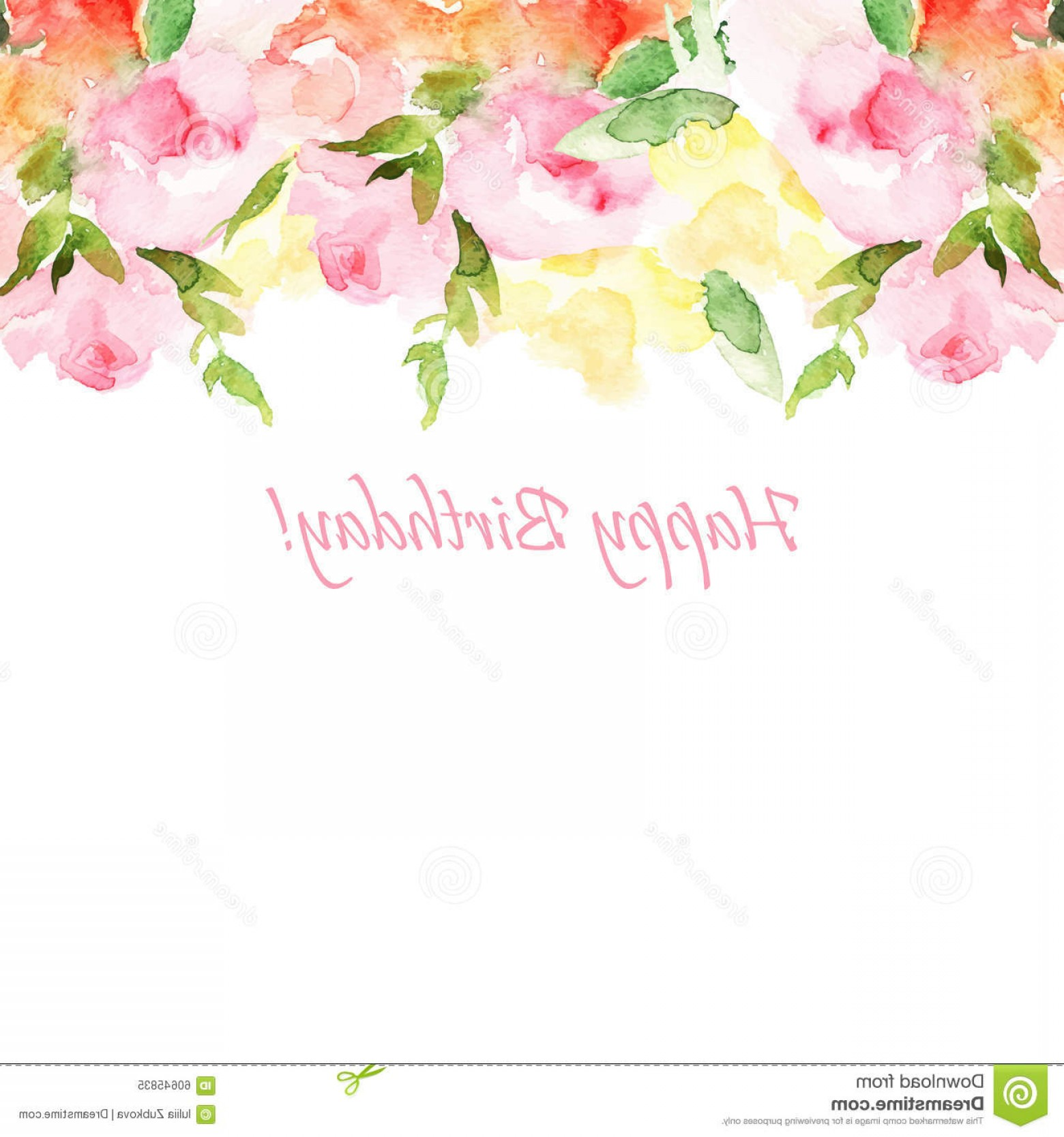 Watercolor Floral Background Vector: Stock Illustration Vector Floral Illustration Greeting Card Invitation Banner Frame Your Text Watercolor Background Image