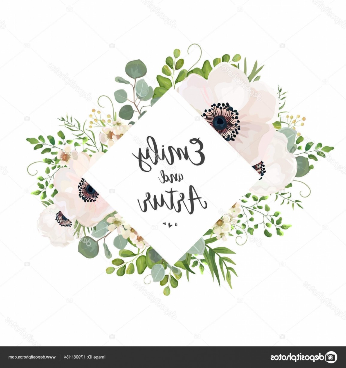 Rustic Wedding Invitation Vector: Stock Illustration Vector Floral Wedding Invite Card