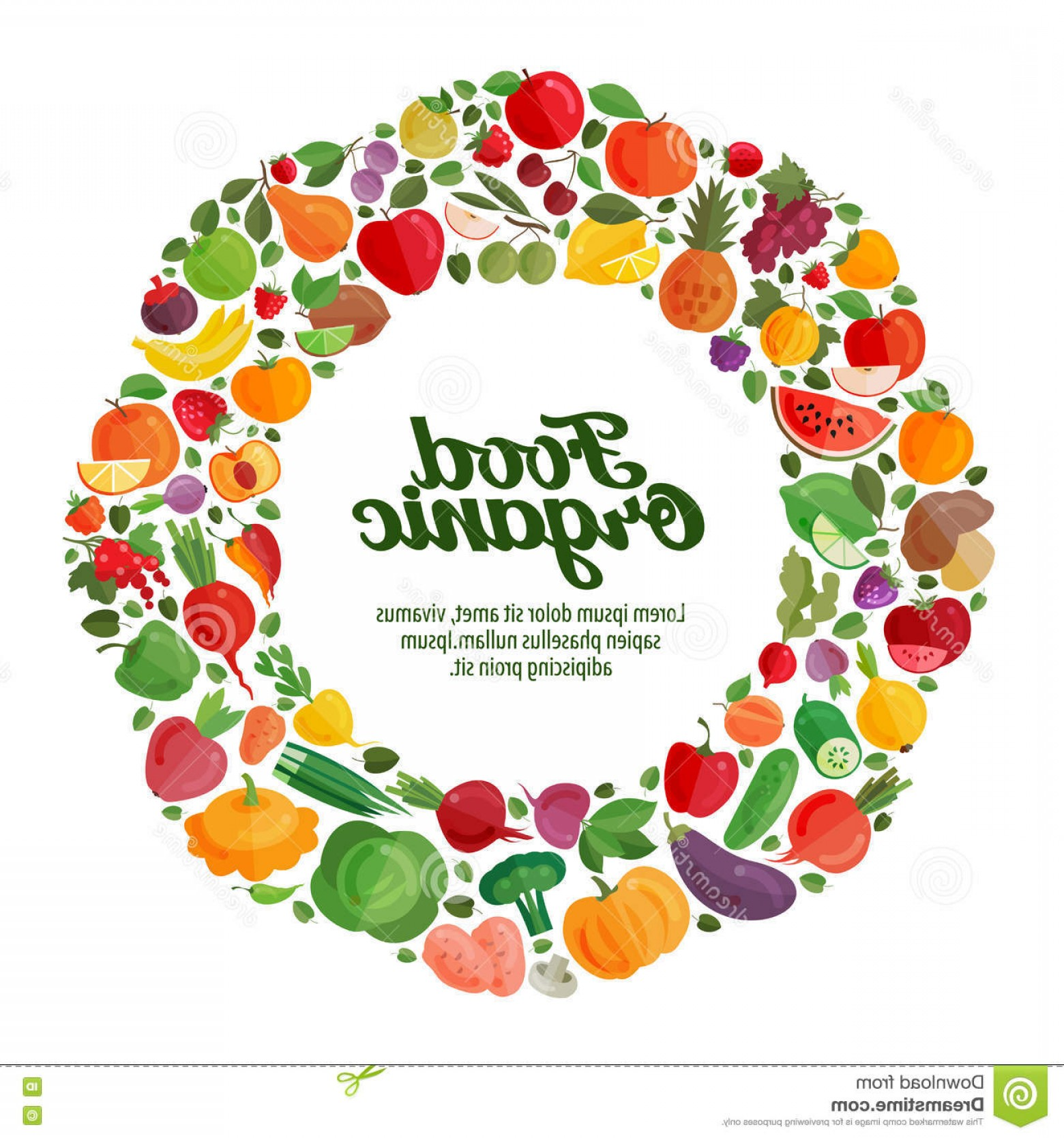 Vector Fruit Vegetable: Stock Illustration Vector Fruit Vegetable Icons Organic Food Concept Template Brochure Flyer Image