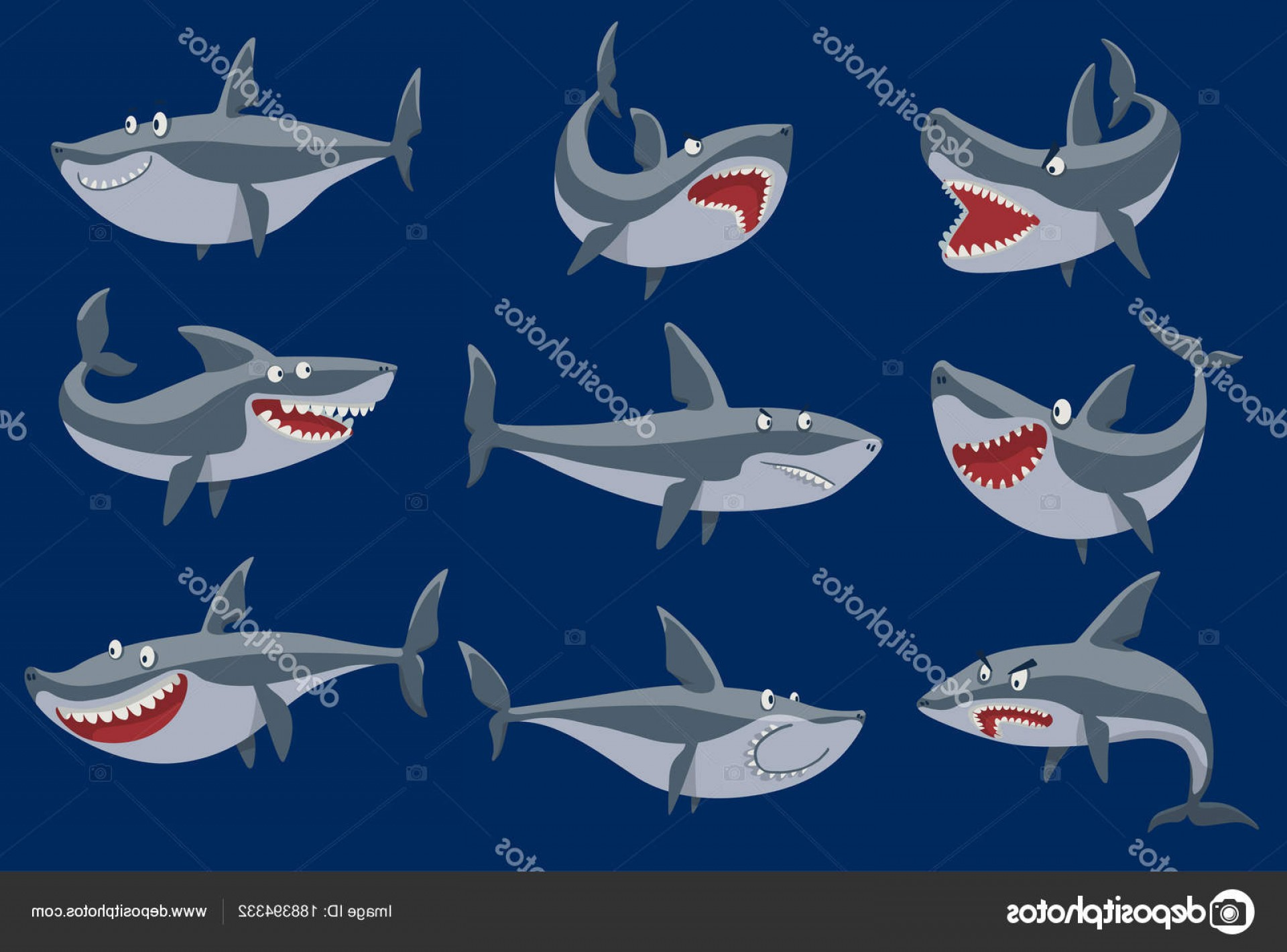 Cool Evil Vectors: Stock Illustration Vector Funny Cartoon Shark Fish