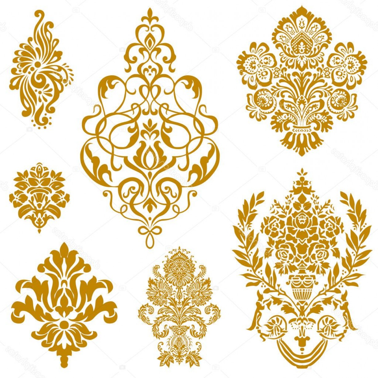 Vector Ornament Sets: Stock Illustration Vector Gold Damask Ornament Set
