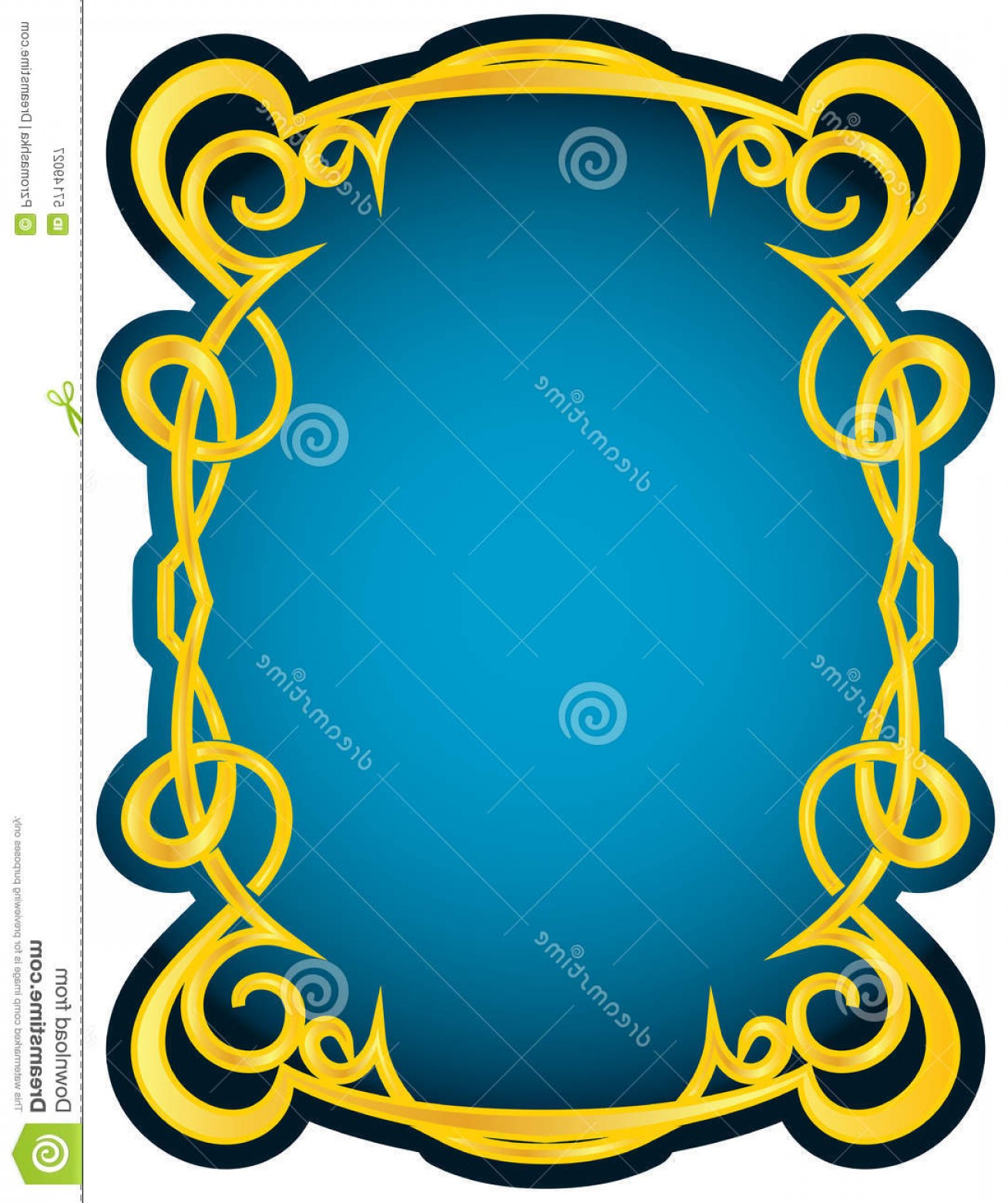 Blue And Gold Border Vector: Stock Illustration Vector Gold Frame Blue Elegant Border Image