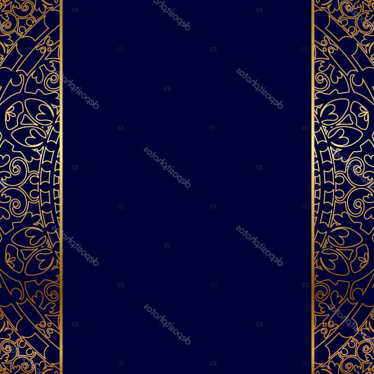 Blue And Gold Border Vector: Stock Illustration Vector Gold Ornate Border