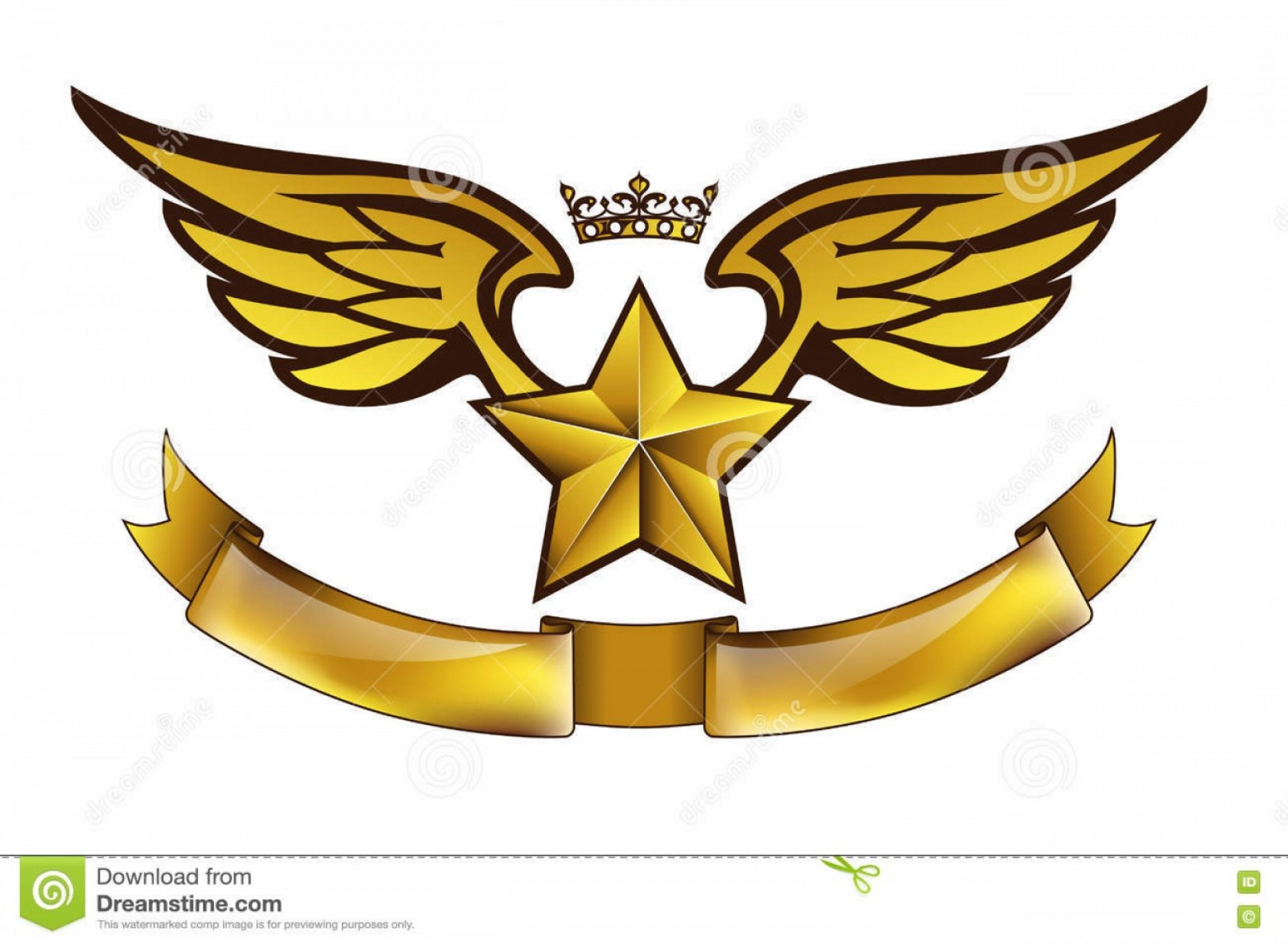 Army Aviator Wings Vector: Stock Illustration Vector Golden Tattoo Logo Star Wings Crown Ribbon Isolated White Background Design Air Force Biker Army Print Image
