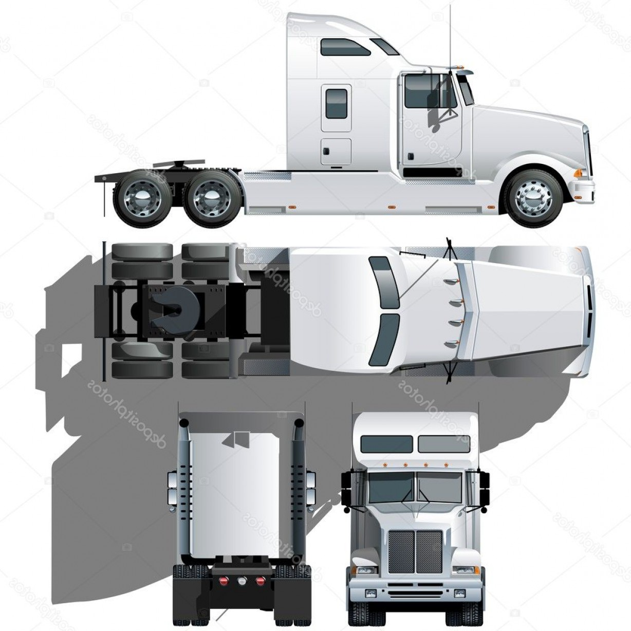 Vector Semi Tanker: Stock Illustration Vector Hi Detailed Semi Truck