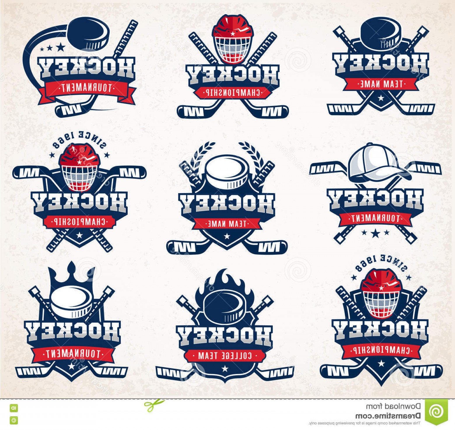 Hockey Teams Logo Vectors: Stock Illustration Vector Hockey Logo Set Collection Nine Colorful Insignias Organized Layers Image