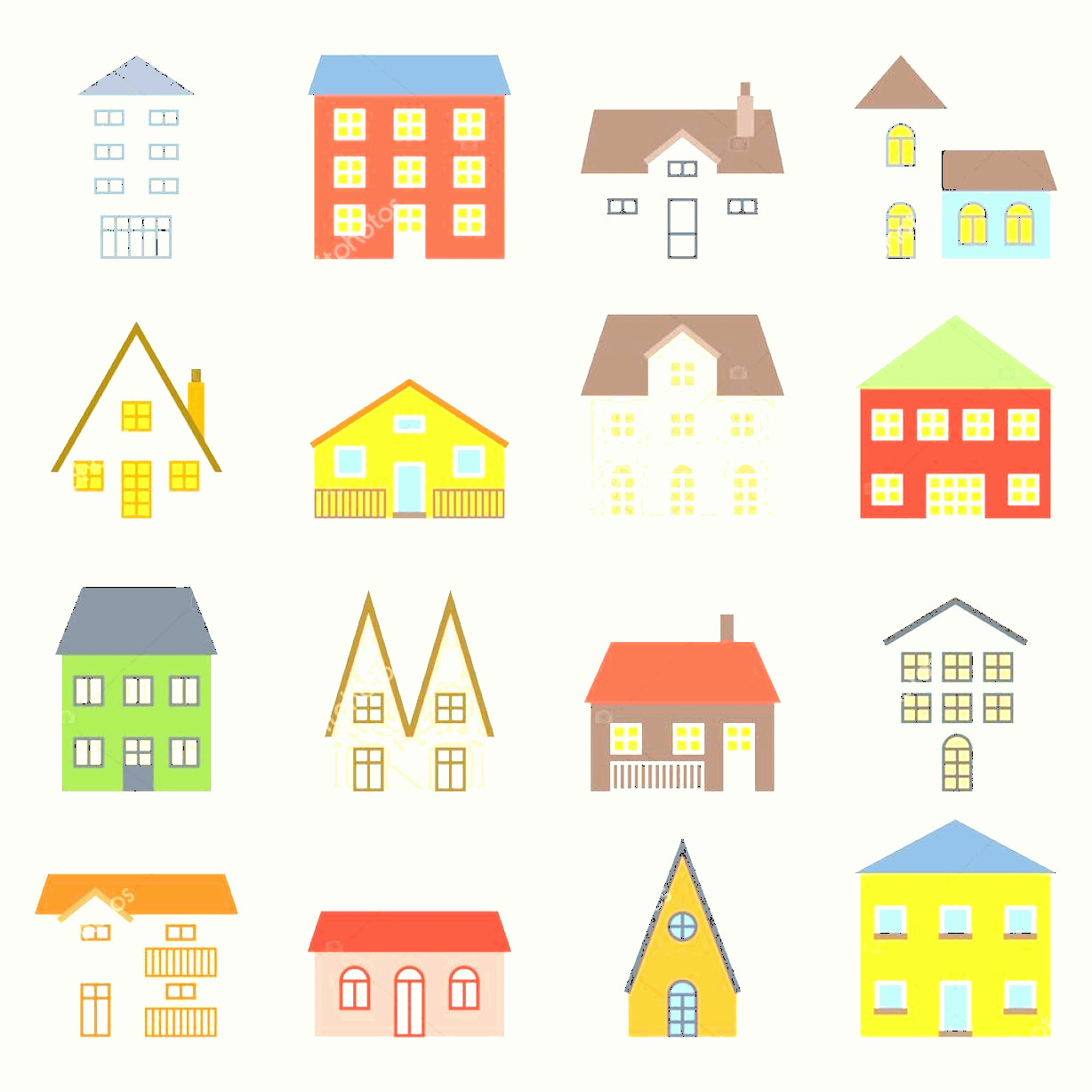 Flat Vector House: Stock Illustration Vector House Icons Set Flat