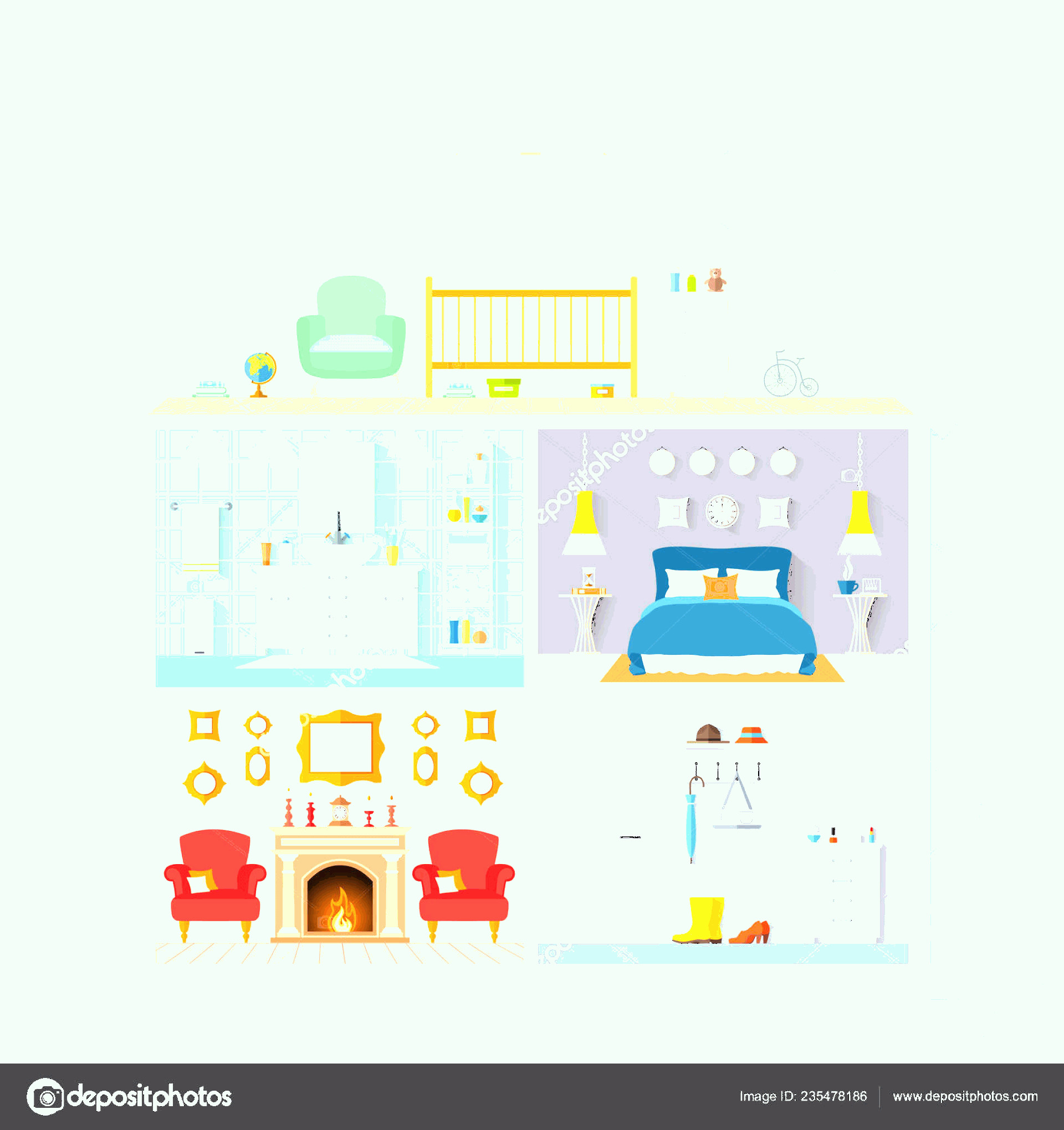 Flat Vector House: Stock Illustration Vector House Model Rooms With