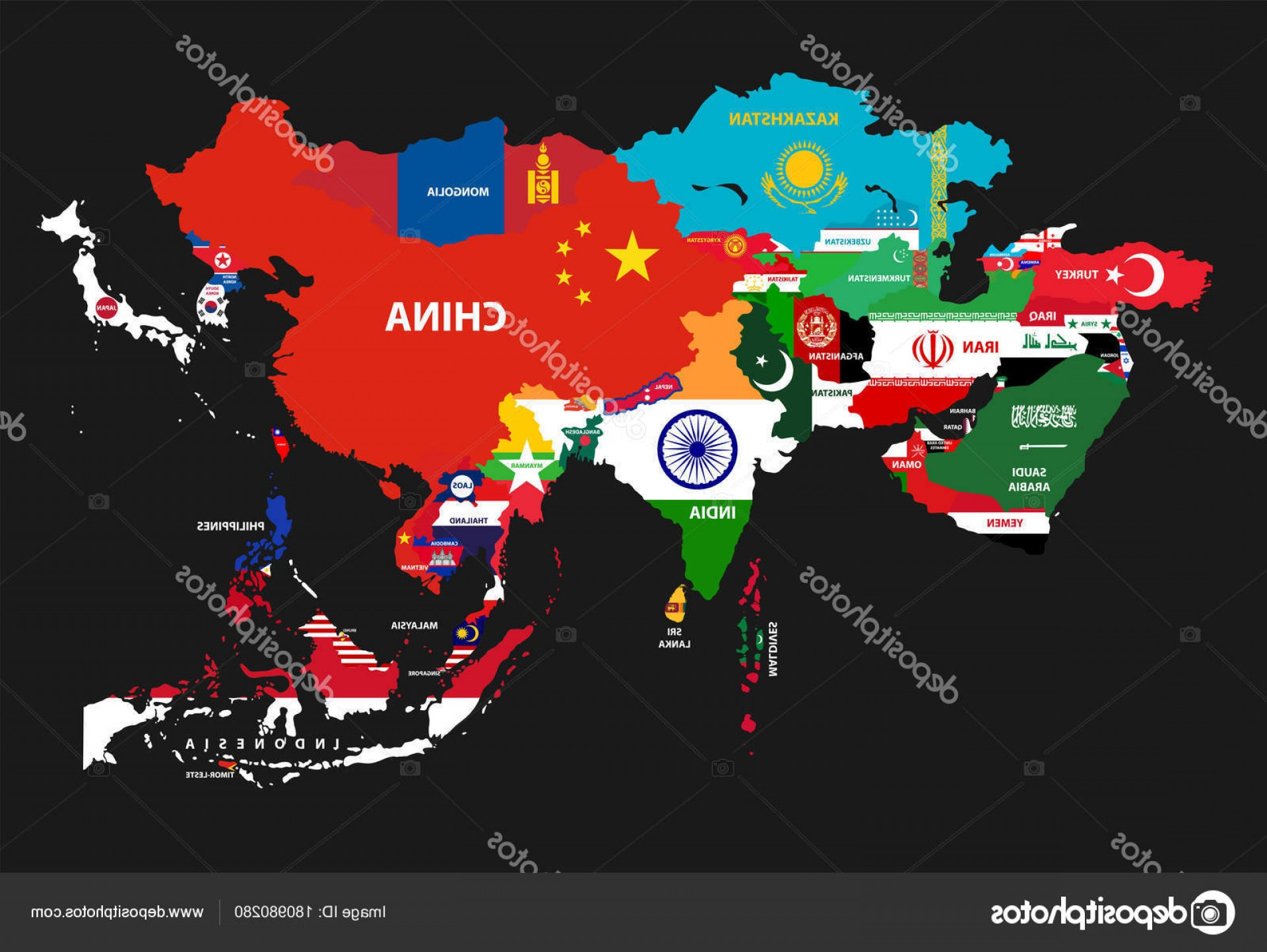 Asia Continent Map Vector: Stock Illustration Vector Illustration Asia Continent Map