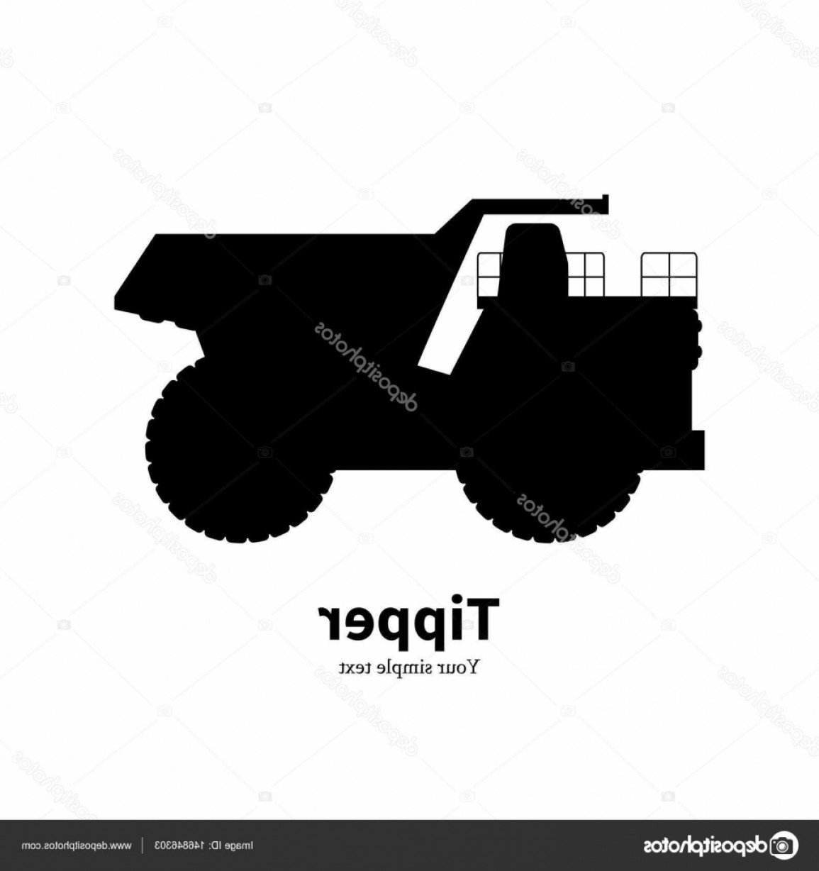 Dump Truck Vector Black And White: Stock Illustration Vector Illustration Black Silhouette Dump