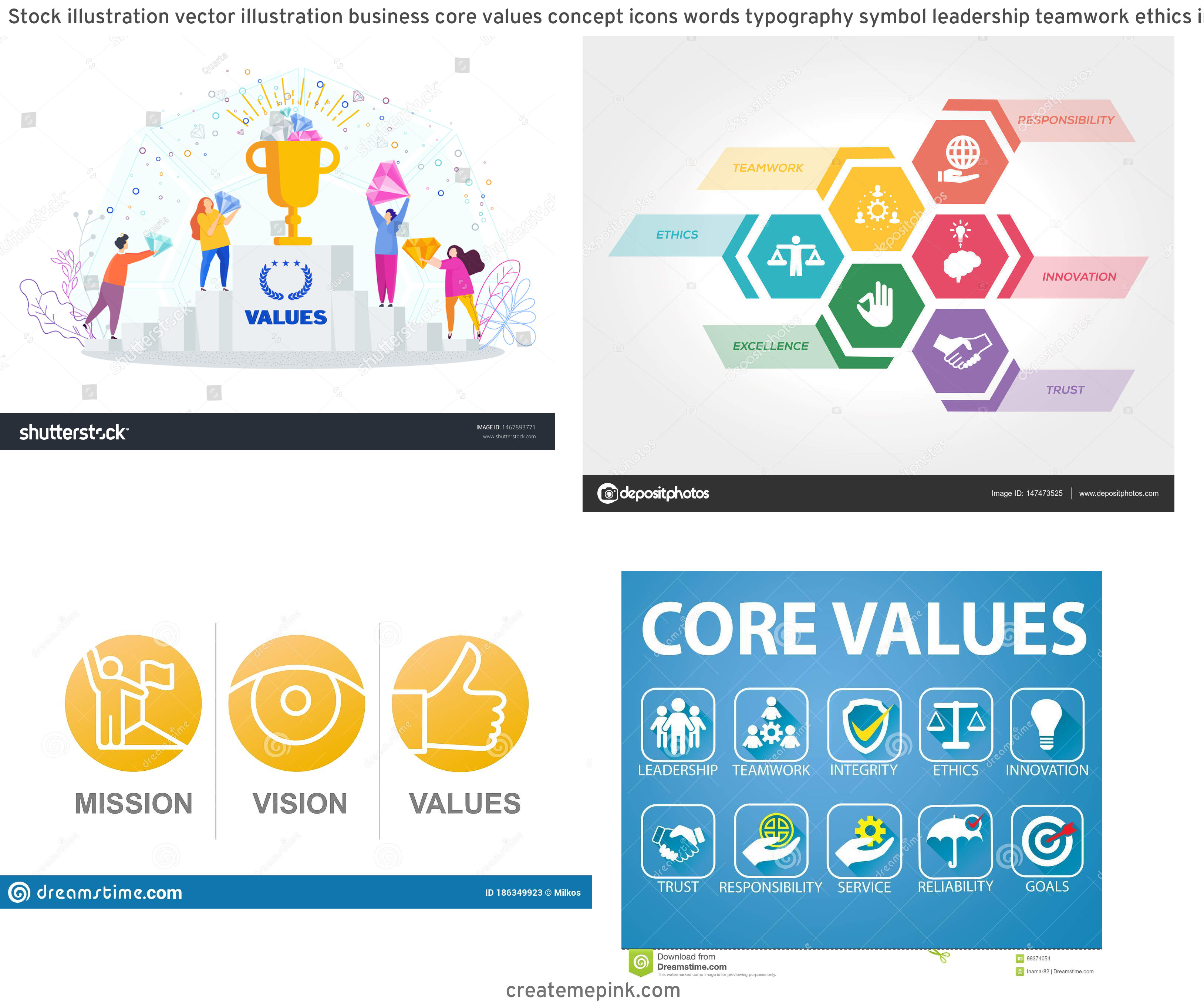 Vector Graphics Values: Stock Illustration Vector Illustration Business Core Values Concept Icons Words Typography Symbol Leadership Teamwork Ethics Integrity Image