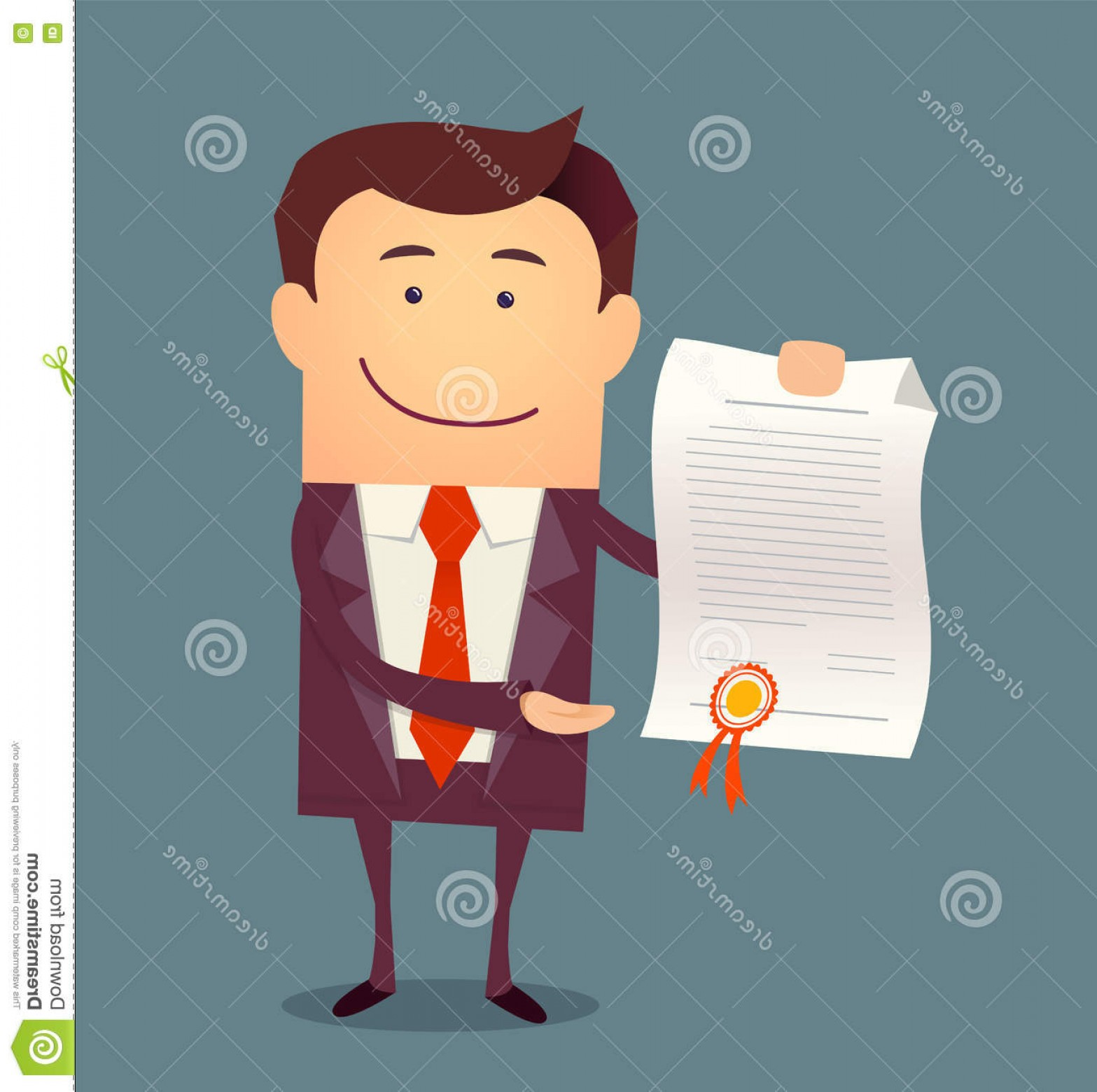 Standing Diploma Vector: Stock Illustration Vector Illustration Businessman Proudly Standing Showing Diploma Flat Style Image