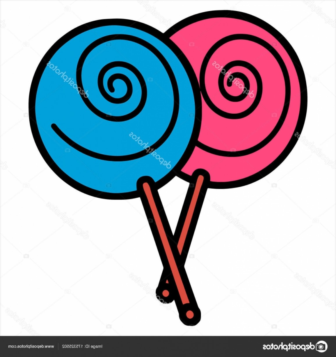 Lollipop Vector Silhouette: Stock Illustration Vector Illustration Cartoon Lollipop Color