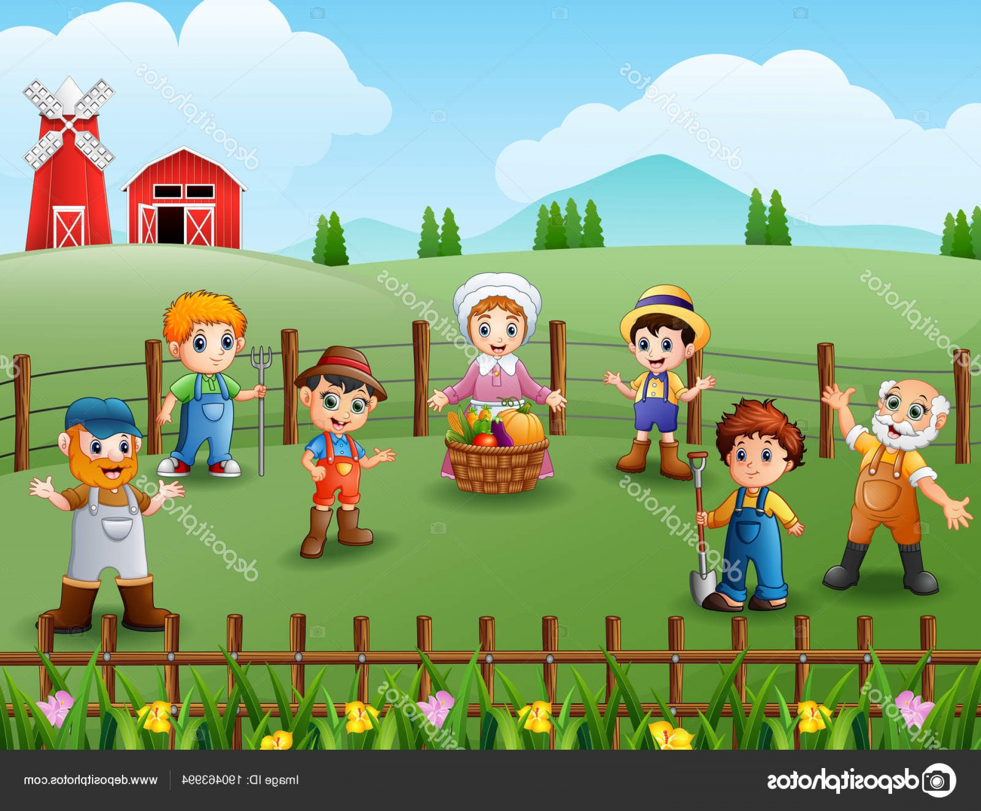 Farm Vector Illustration: Stock Illustration Vector Illustration Farmers Talking Enjoyed