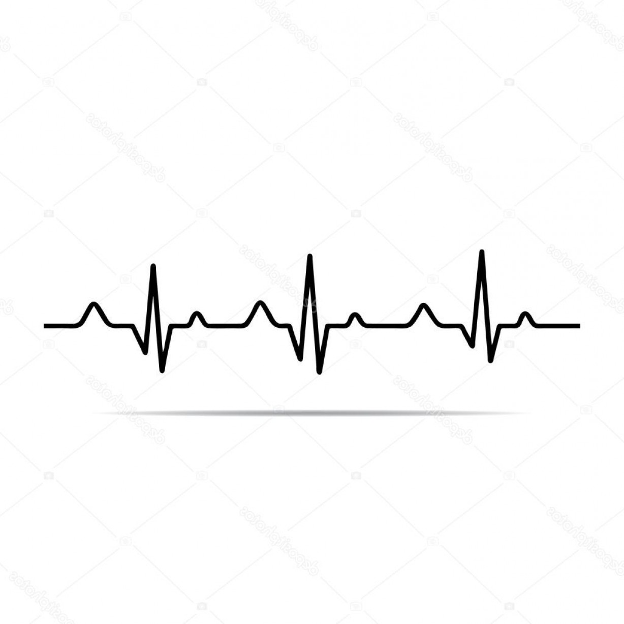 Heart With EKG Line Vector: Stock Illustration Vector Illustration Heart Rhythm Ekg