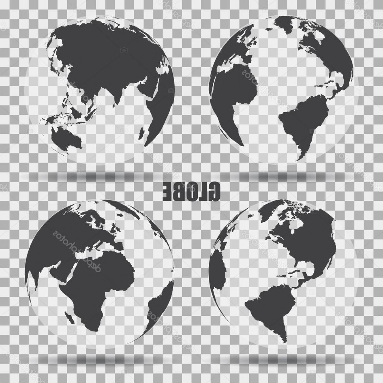 Vector Globe Countries: Stock Illustration Vector Illustration Of Gray Globe