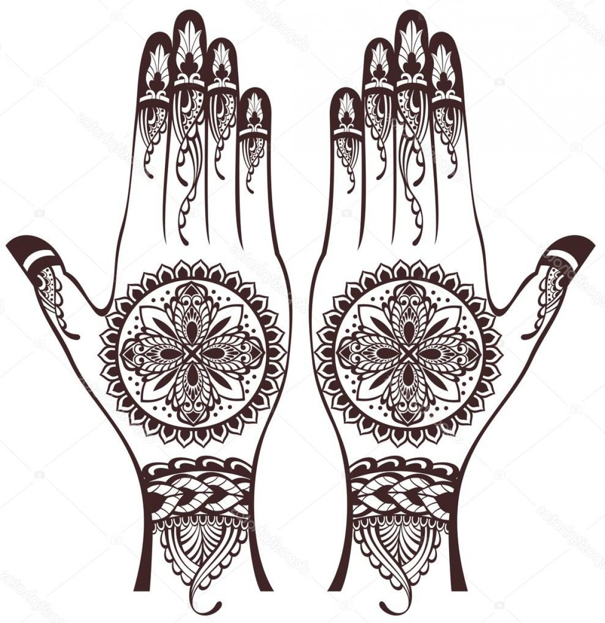 Vector Art Henna: Stock Illustration Vector Illustration Of Hands With