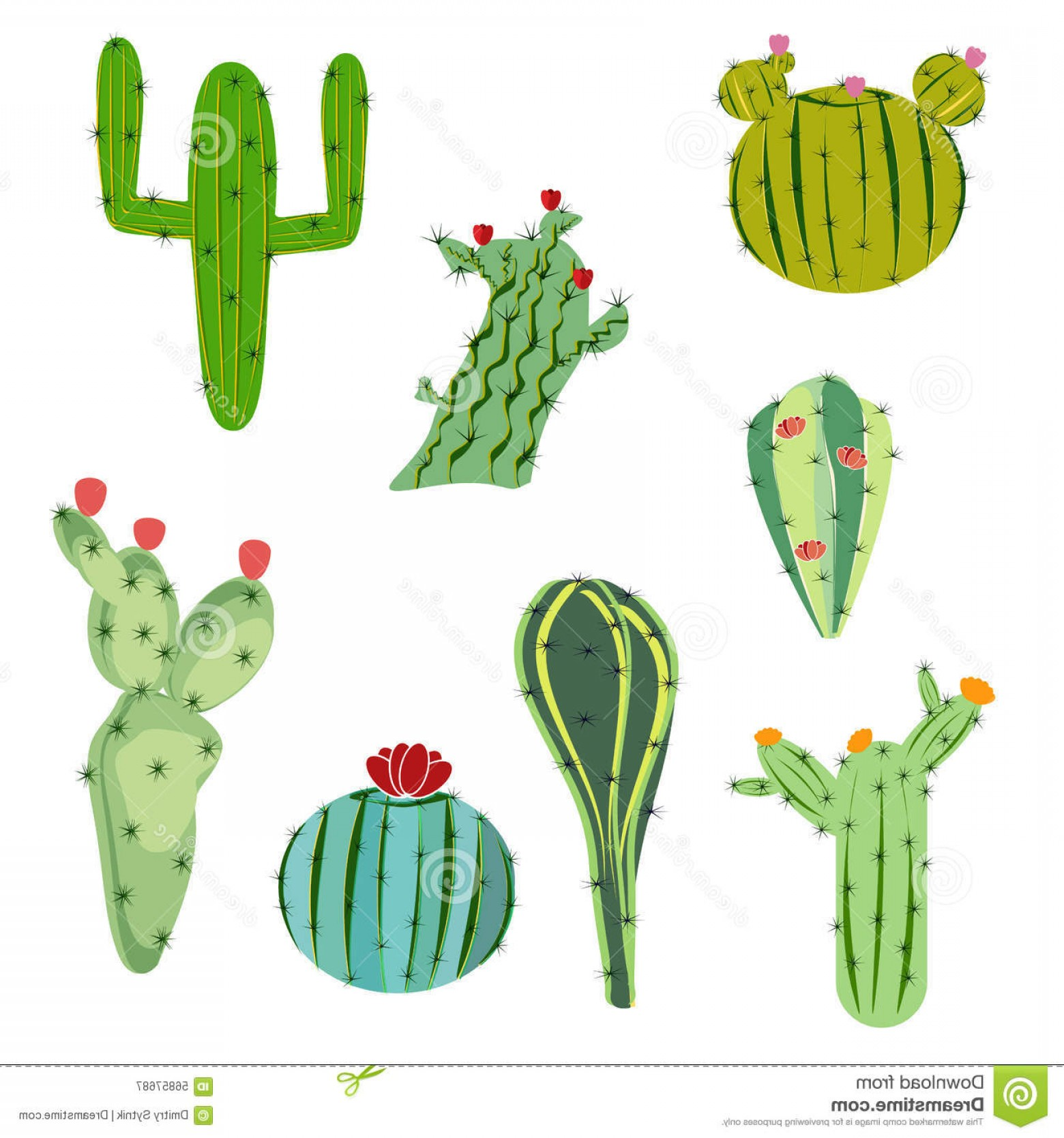 Cactus And Flower Vector: Stock Illustration Vector Illustration Set Cactus Flowers Flat Style Web Print Design Image