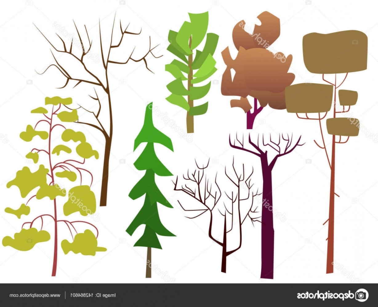 Sapling Vector Tree Silhouette Art: Stock Illustration Vector Illustration Set With Silhouettes