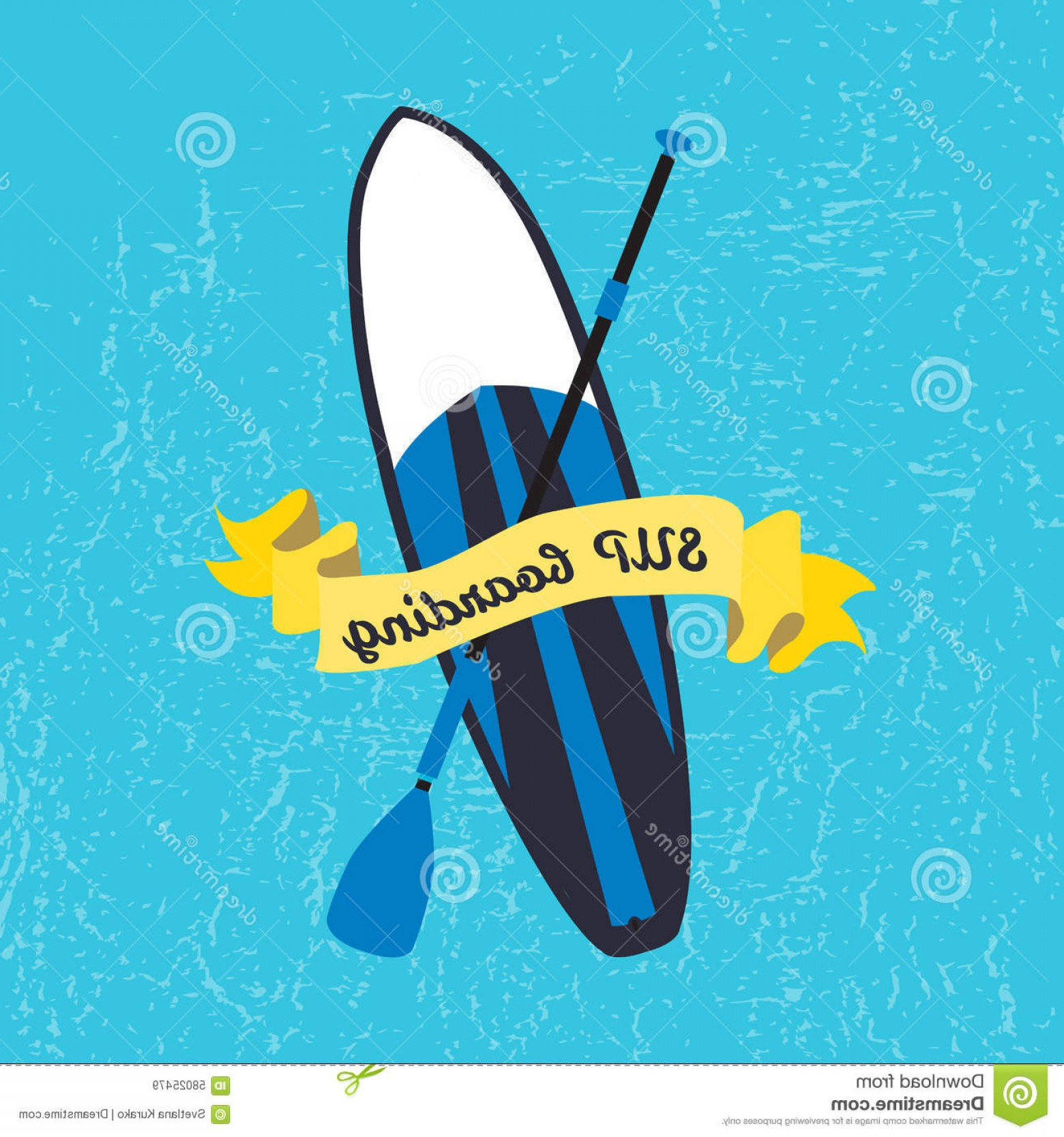 Paddleboard Vector Icons: Stock Illustration Vector Illustration Stand Up Paddle Board Paddle Flat Design Style Signature Sup Boarding Textured Background Image