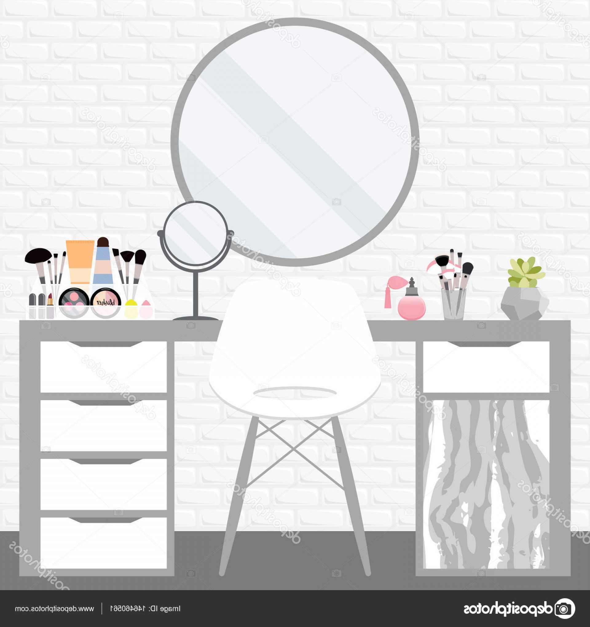 Vector Makeup Vanity Table: Stock Illustration Vector Illustration With Make Up