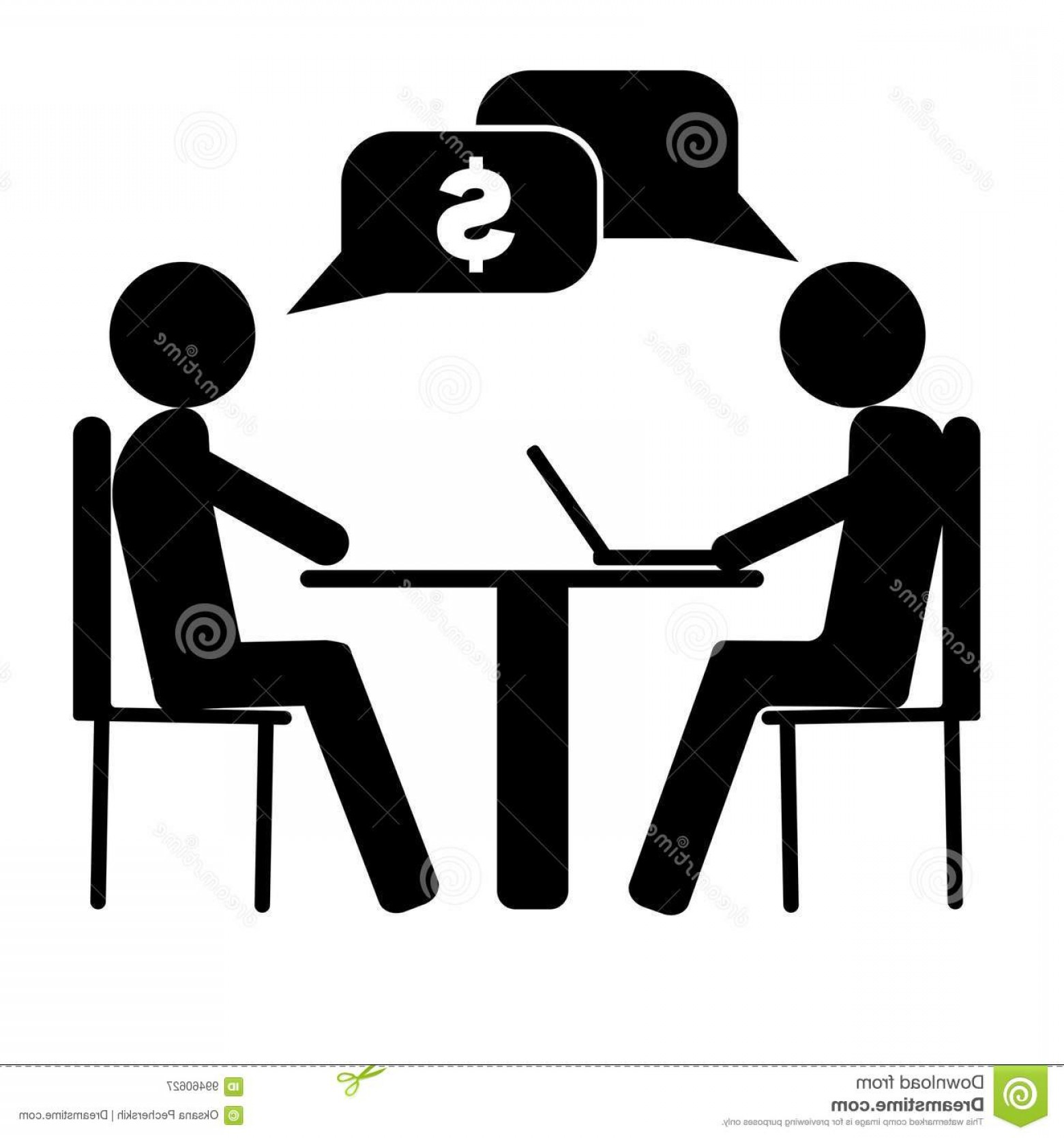 Two People Talking Vector Art: Stock Illustration Vector Image Two People Talking Business Work Sitting Table One Person Working Laptop Vector Image Two Image