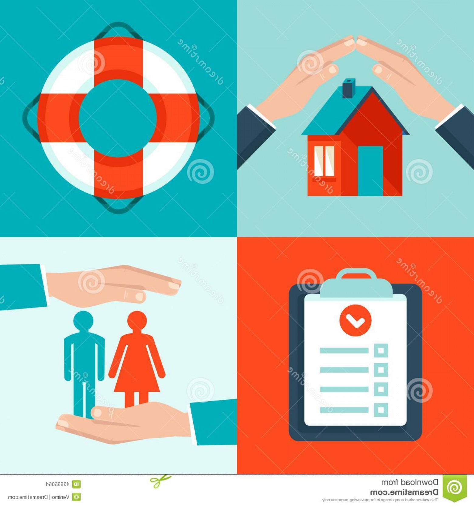 Vector Insurance: Stock Illustration Vector Insurance Concepts Flat Style Icons Infographic Design Elements Protect Safe Health Property Image